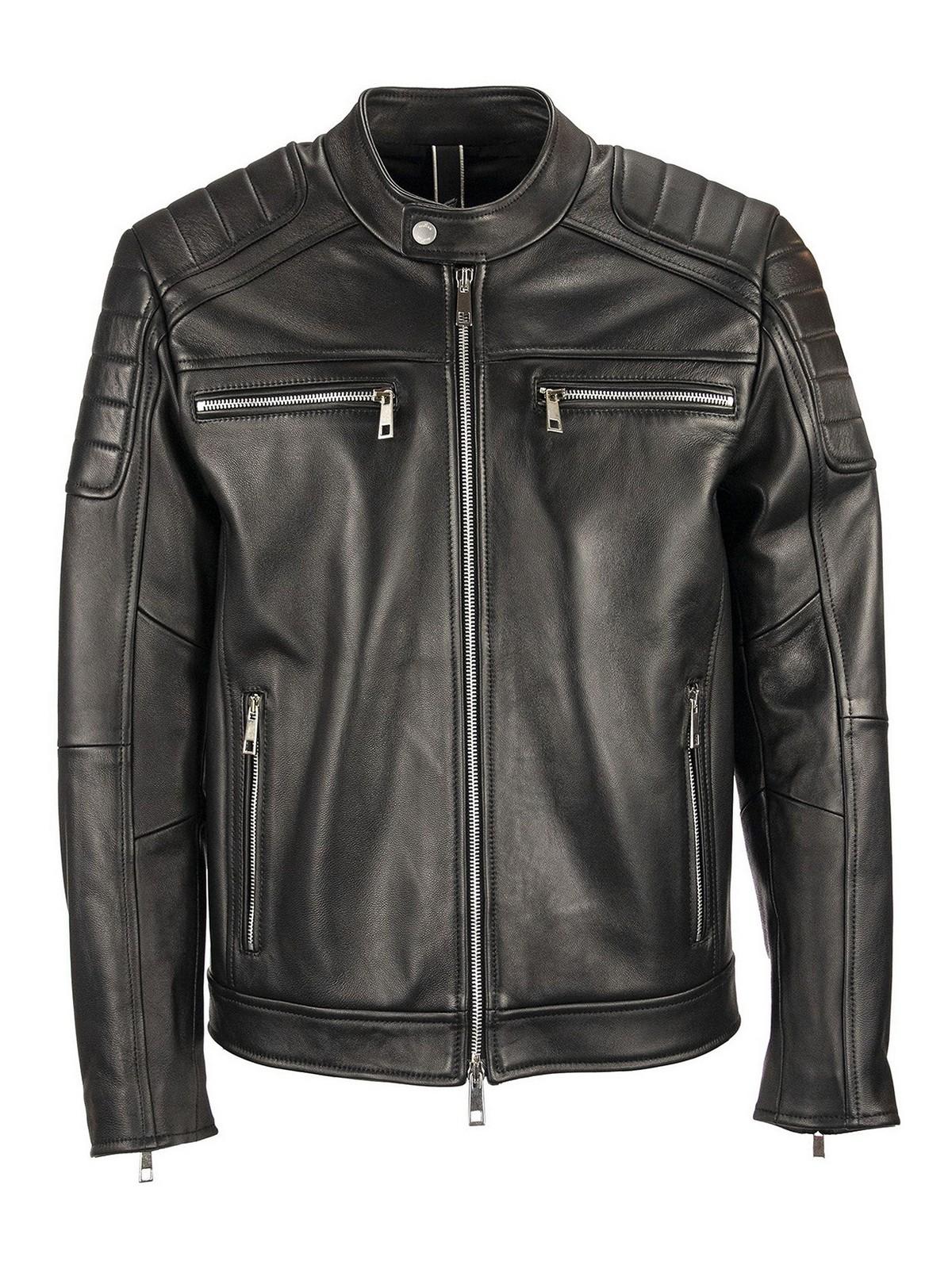 Leather jacket Hogan - Leather biker jacket - KJM1241205PRQYB999