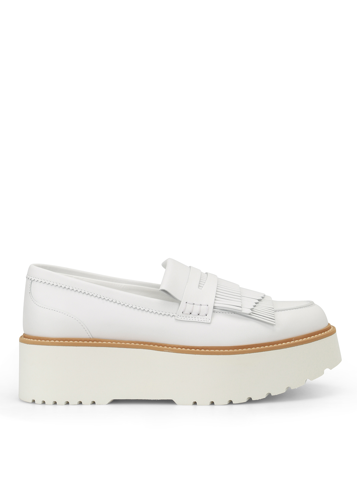 Hogan Route H355 Fringed White Leather Loafers