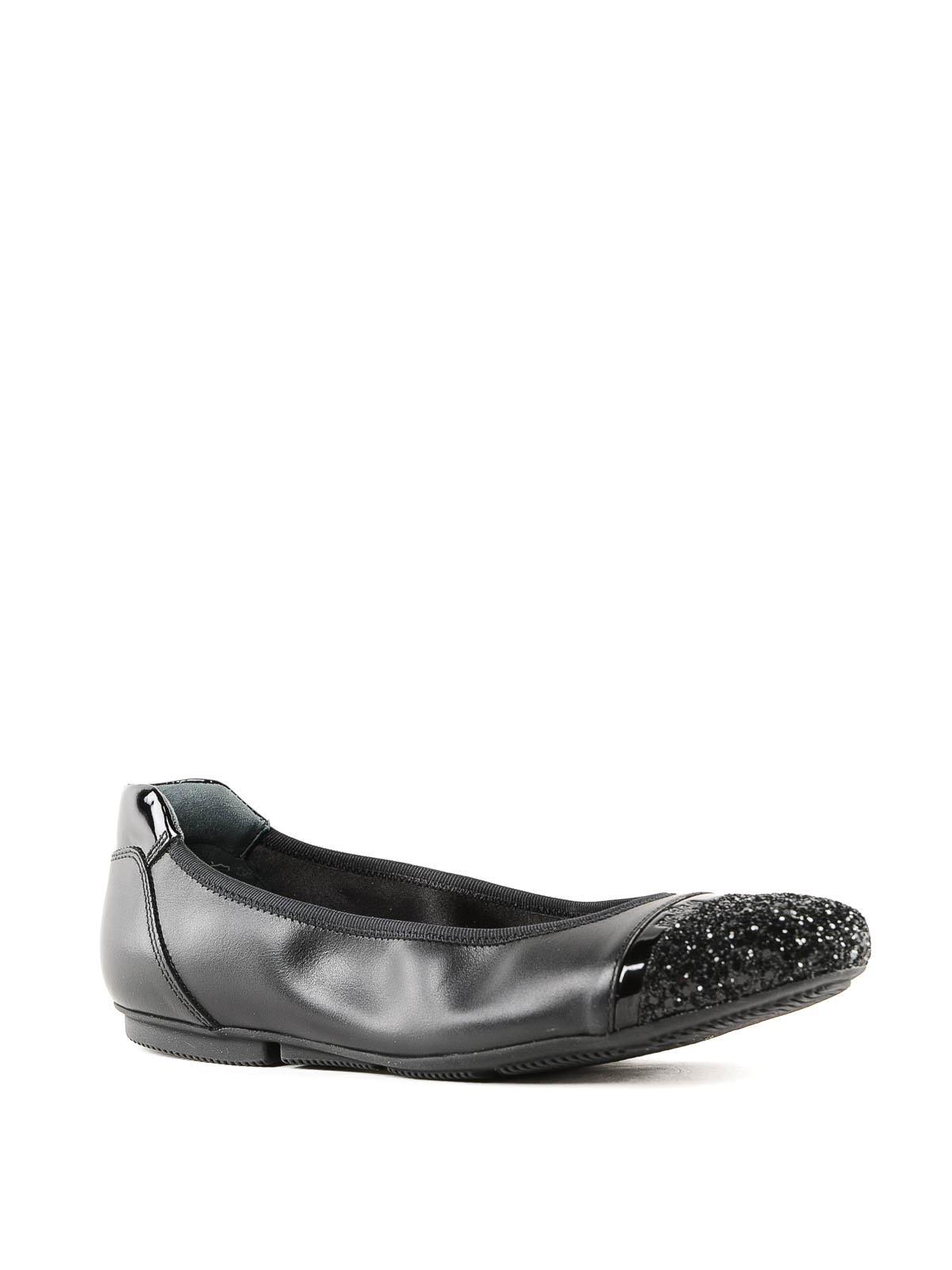 8750e7cb9f55 HOGAN  flat shoes online - Black leather and glitter flat shoes
