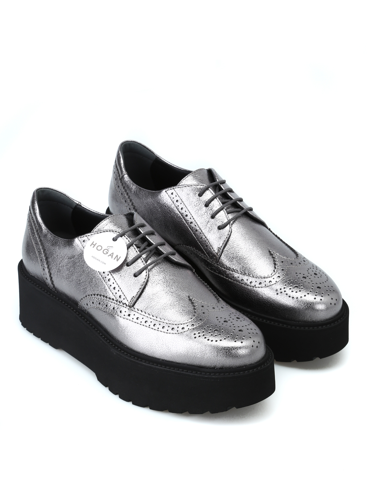on sale eb5c9 1f712 Hogan - Derby con plateau metallizzate - scarpe stringate ...