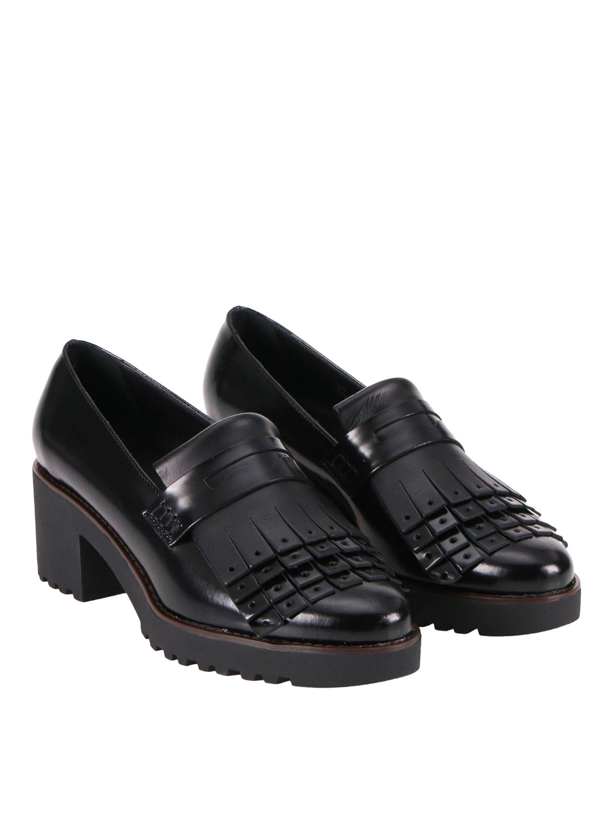 Loafers & Slippers Hogan - H277 leather fringed loafers ...