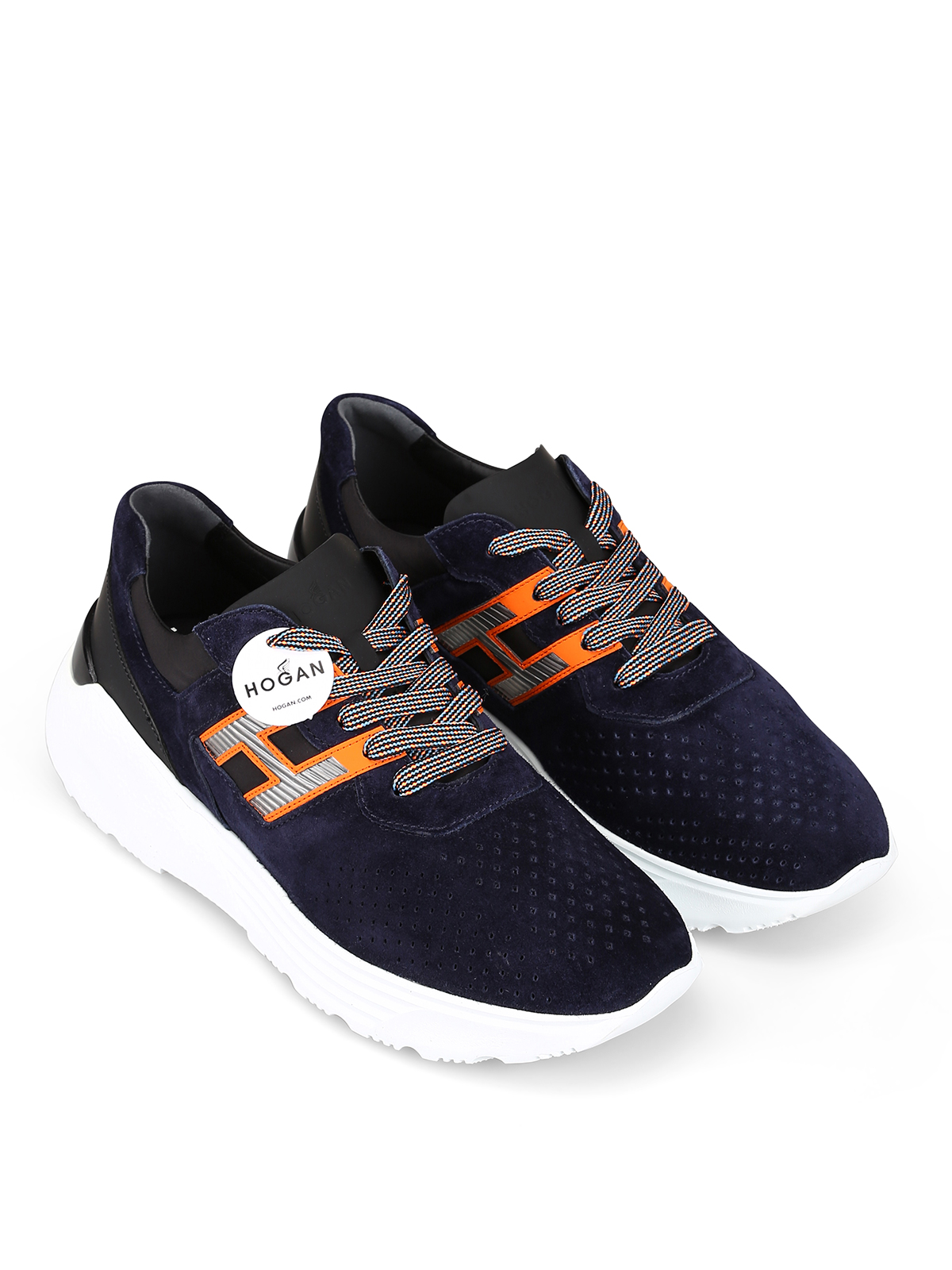 Trainers Hogan - Active One blue and orange sneakers ...