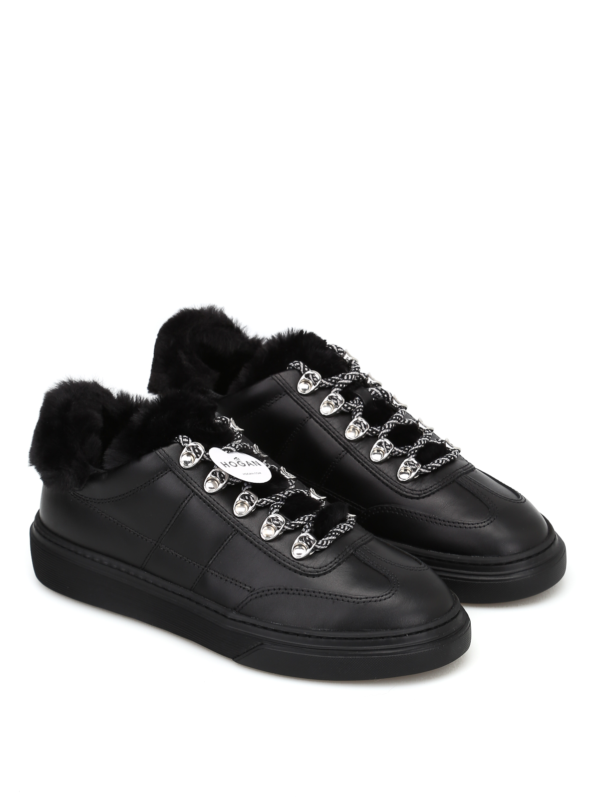 26bb648102d5 HOGAN  trainers online - Black sheep fur detail leather sneakers