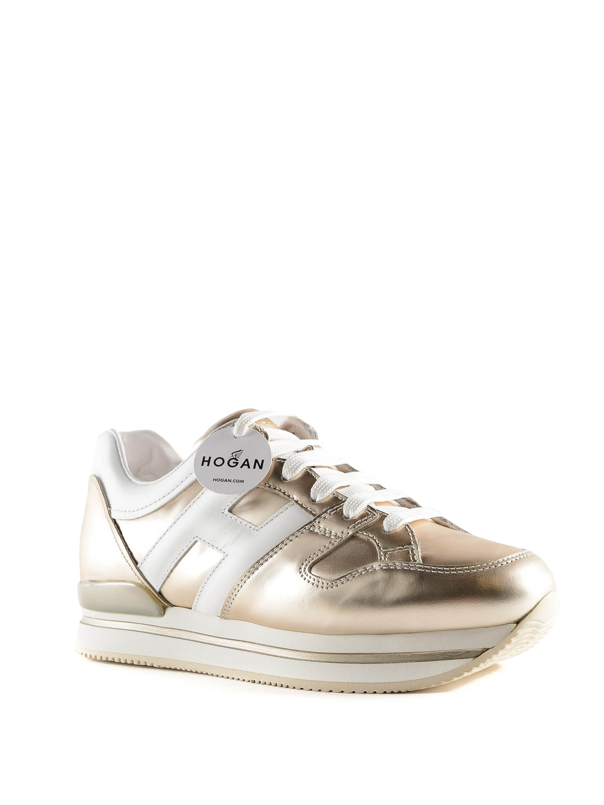 Hogan - Sneaker bronzo in pelle con suola a righe - sneakers ...