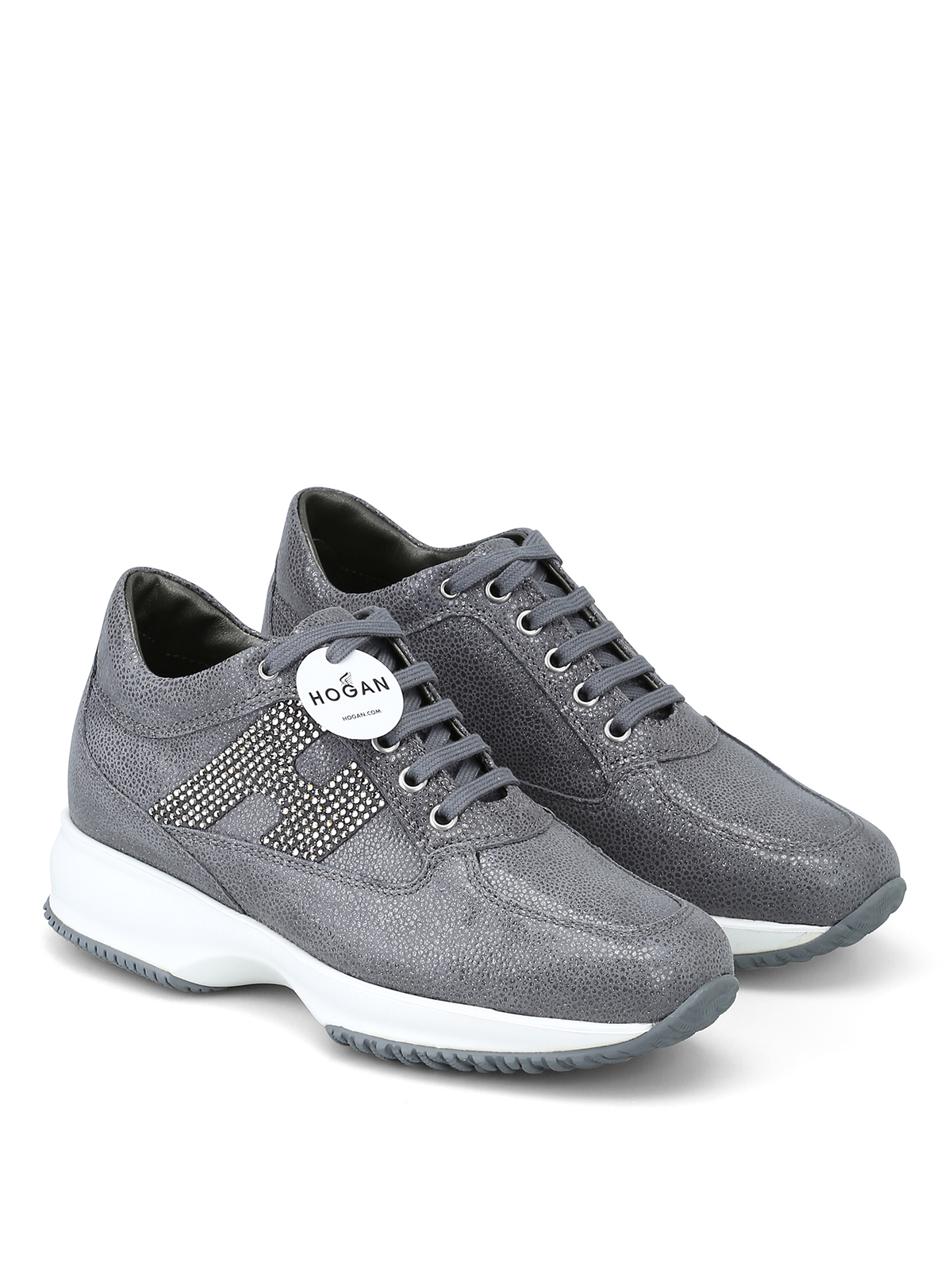 c37eb9a1b2 HOGAN: sneakers online - Interactive grigie in suede con H in strass