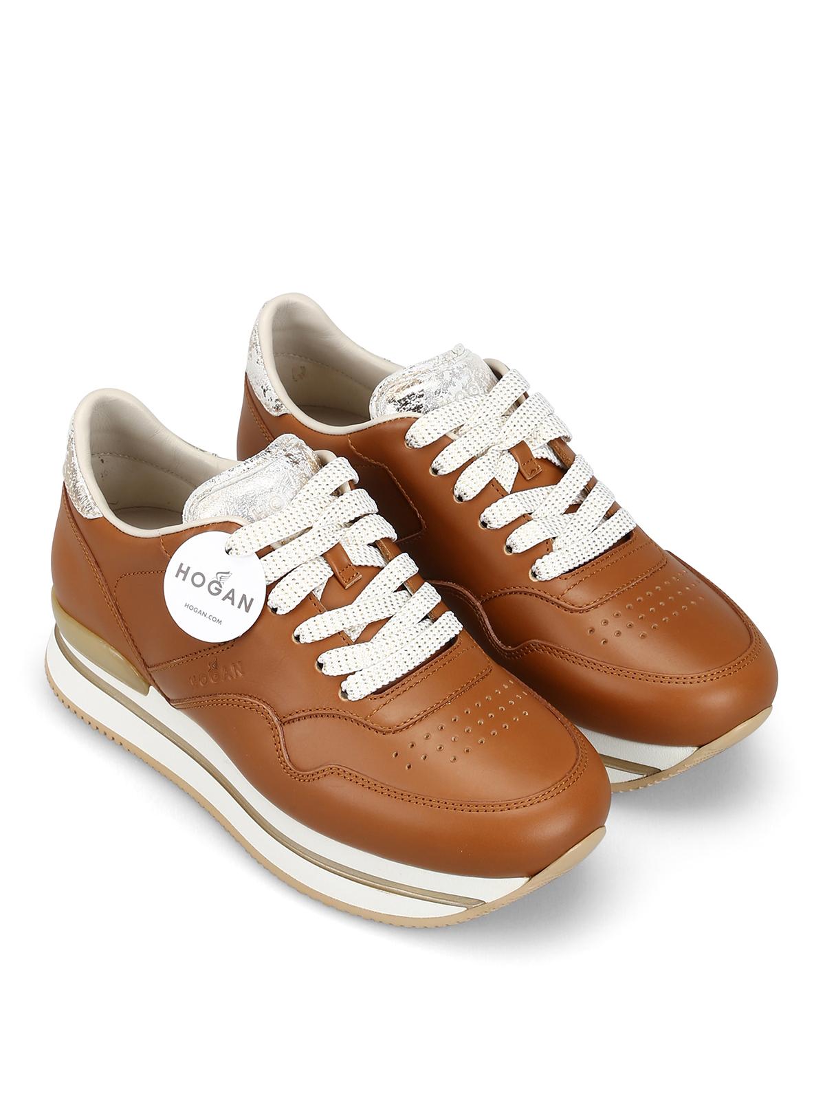 Sneakers Hogan - Sneaker H222 in pelle color cuoio ...