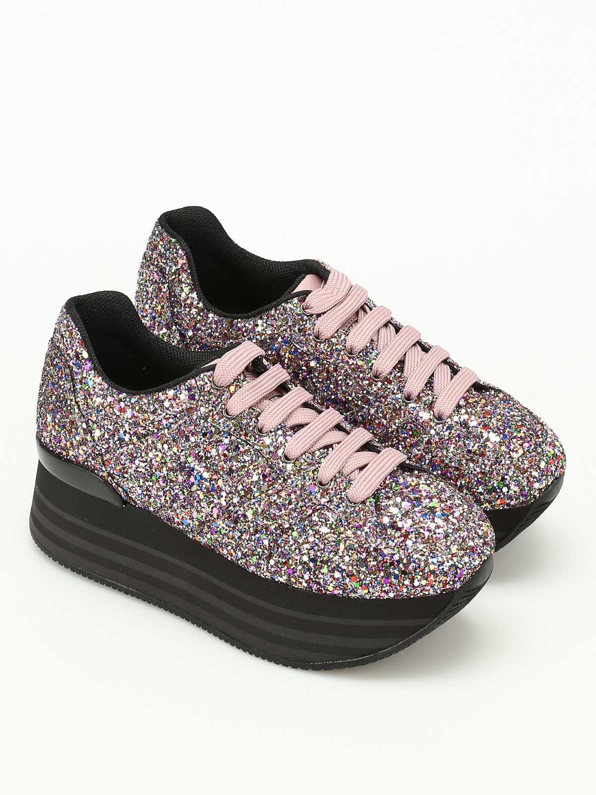 Trainers Hogan - H283 maxi glitter suede sneakers - HXW2830T548HYM0LMD
