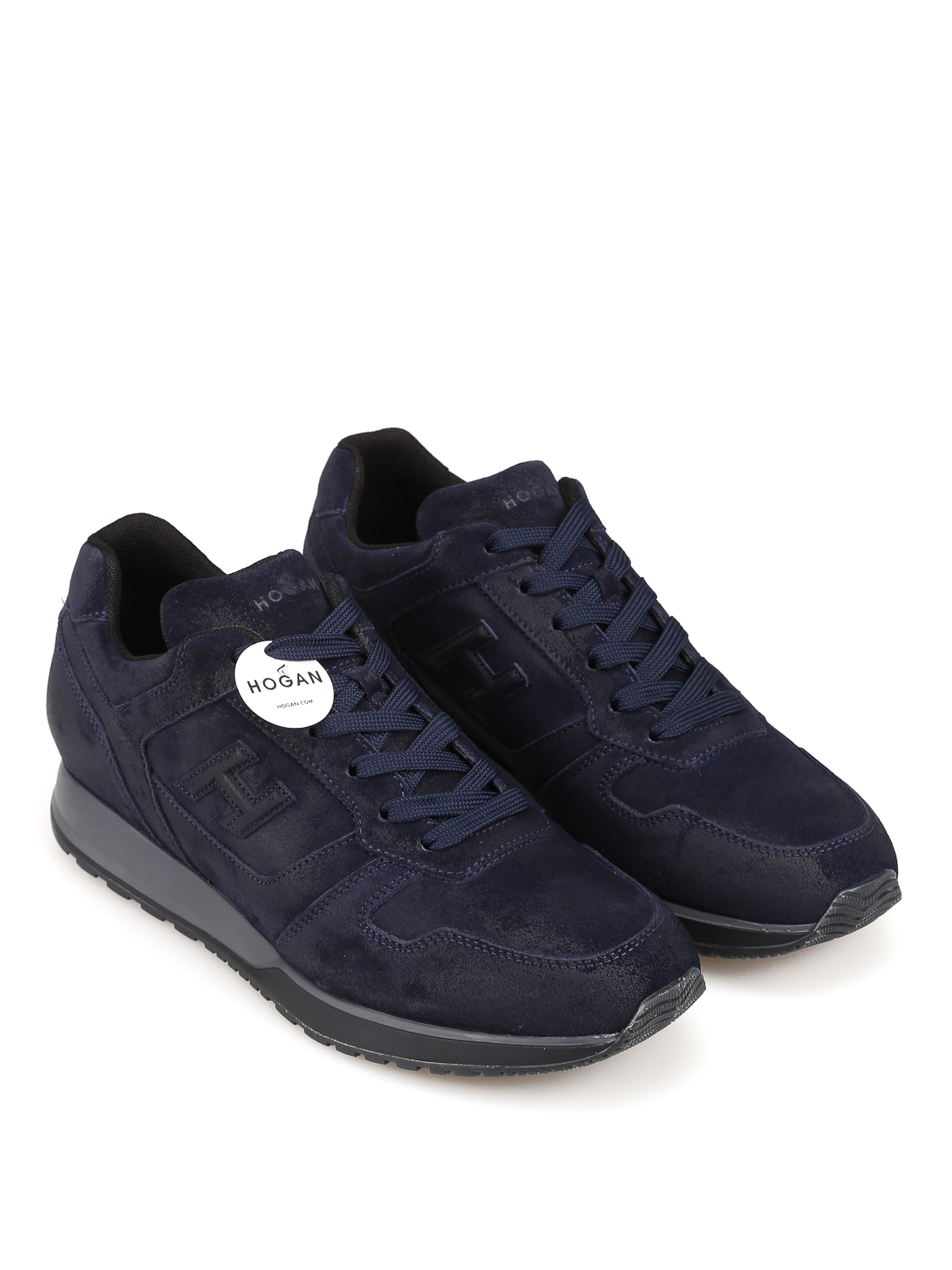 Trainers Hogan - H321 blue suede sneakers - HXM3210Y850HG0U801 ...