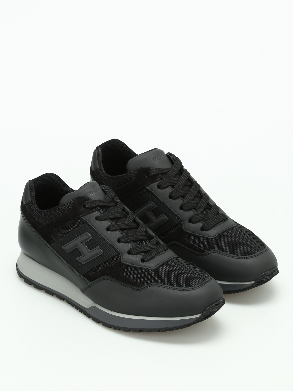 Hogan H321 Leather And Mesh Sneakers Trainers