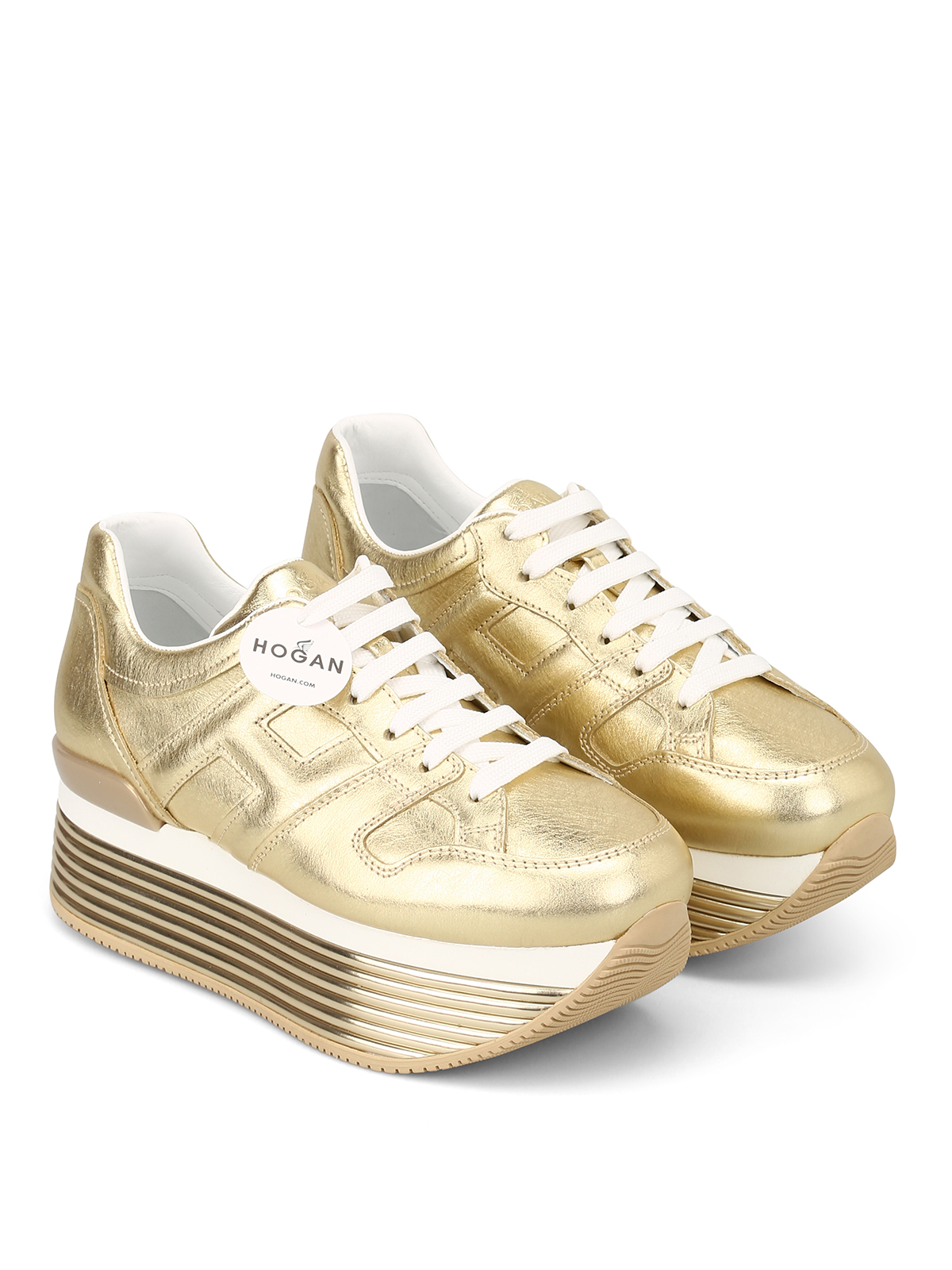 Trainers Hogan - H352 pale gold leather sneakers - HXW3520T548I6EG210