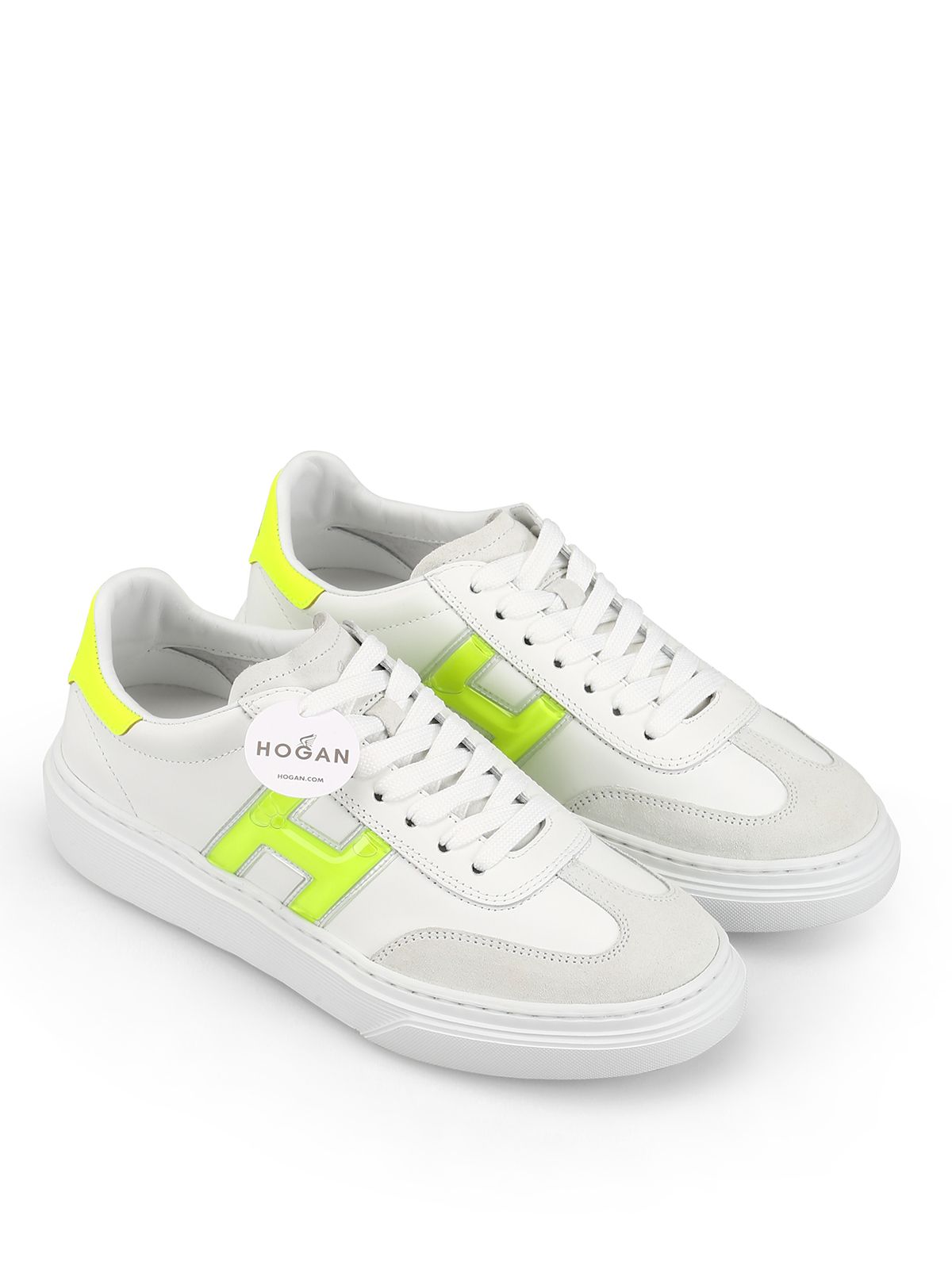 Hogan - H365 fluo detailed leather sneakers - trainers ...