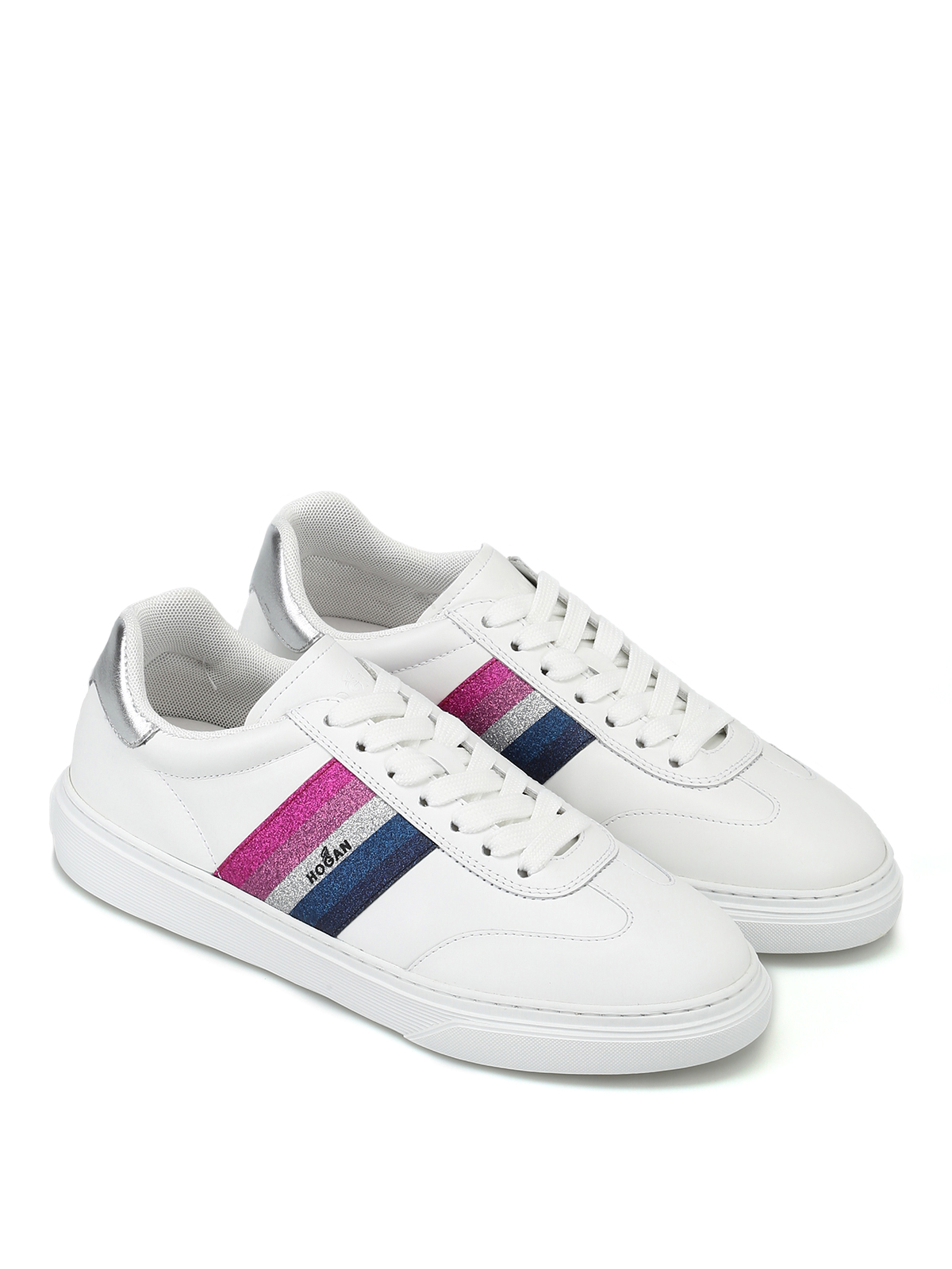 HOGAN  sneakers online - Sneaker bianche H365 con banda logo glitter 8def9b78113