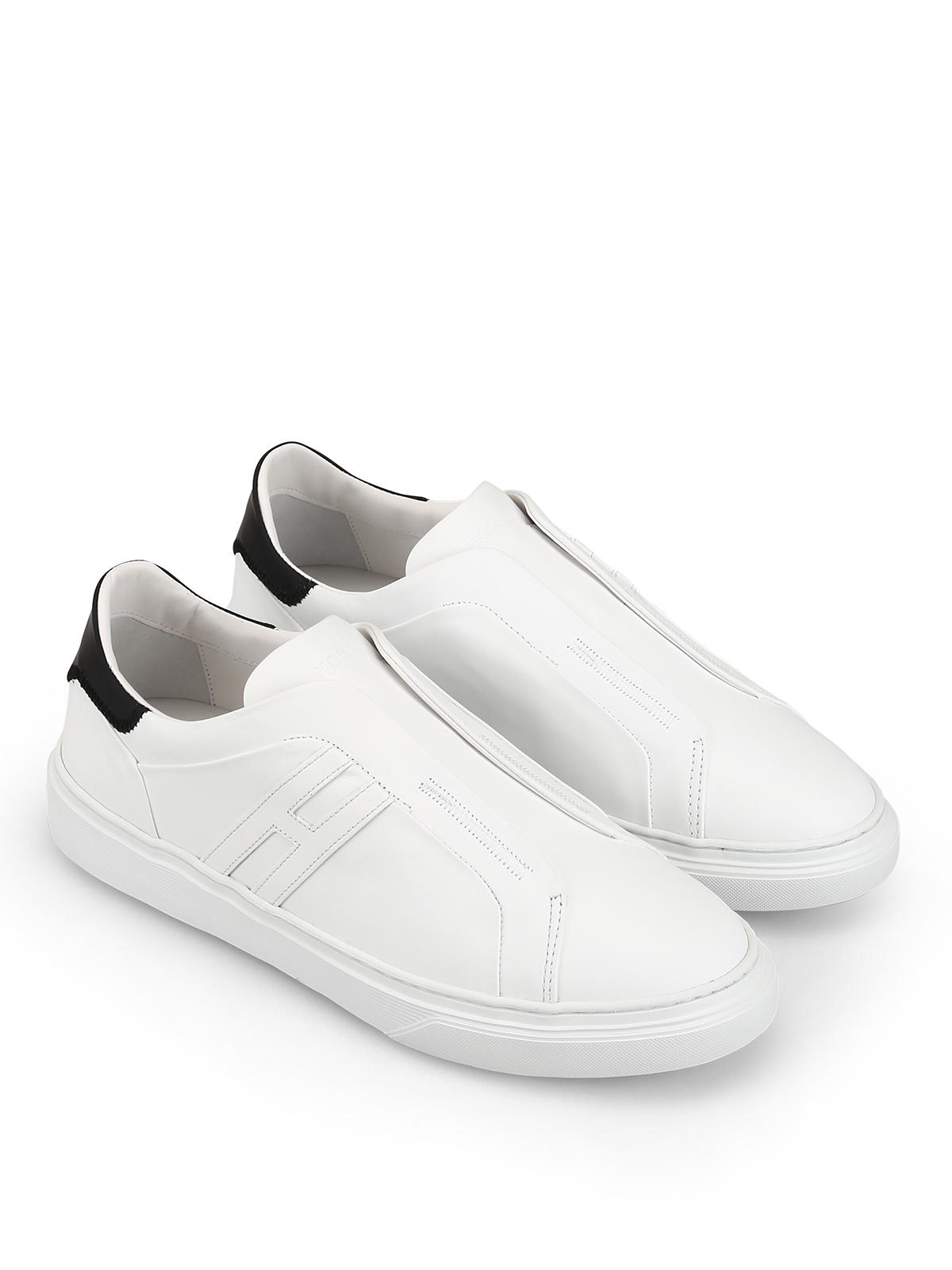 Sneakers Hogan - Slip-on H365 bianche in pelle - HXM3650BE00KFM0001
