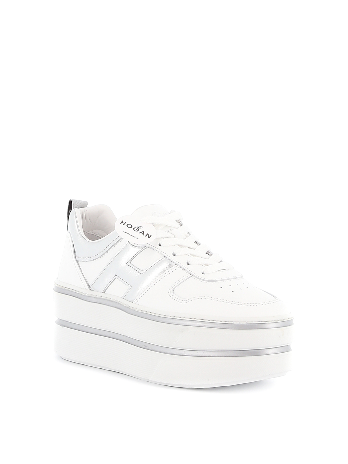 Trainers Hogan - H449 white and silver leather sneakers ...