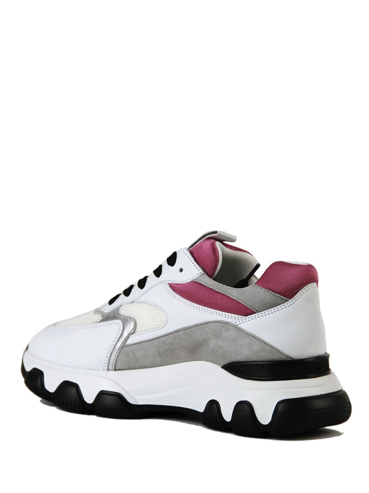 Sneakers Hyperactive bianche rosa e argento