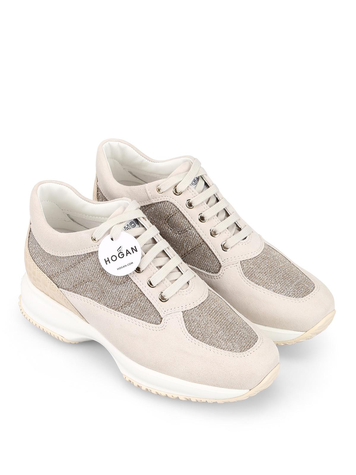 Trainers Hogan - Interactive beige suede and lurex sneakers ...