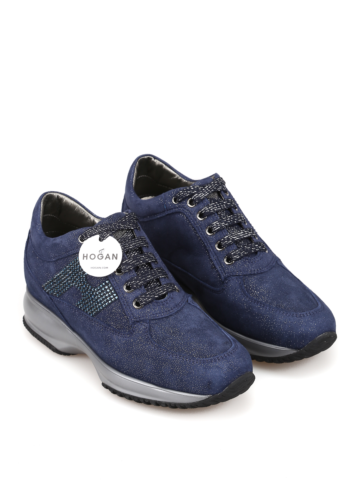 Trainers Hogan - Interactive crystal H shiny suede sneakers ...