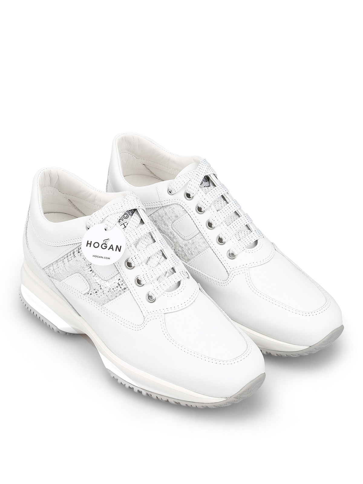 Sneakers Hogan - Interactive bianche in pelle con H laminata ...
