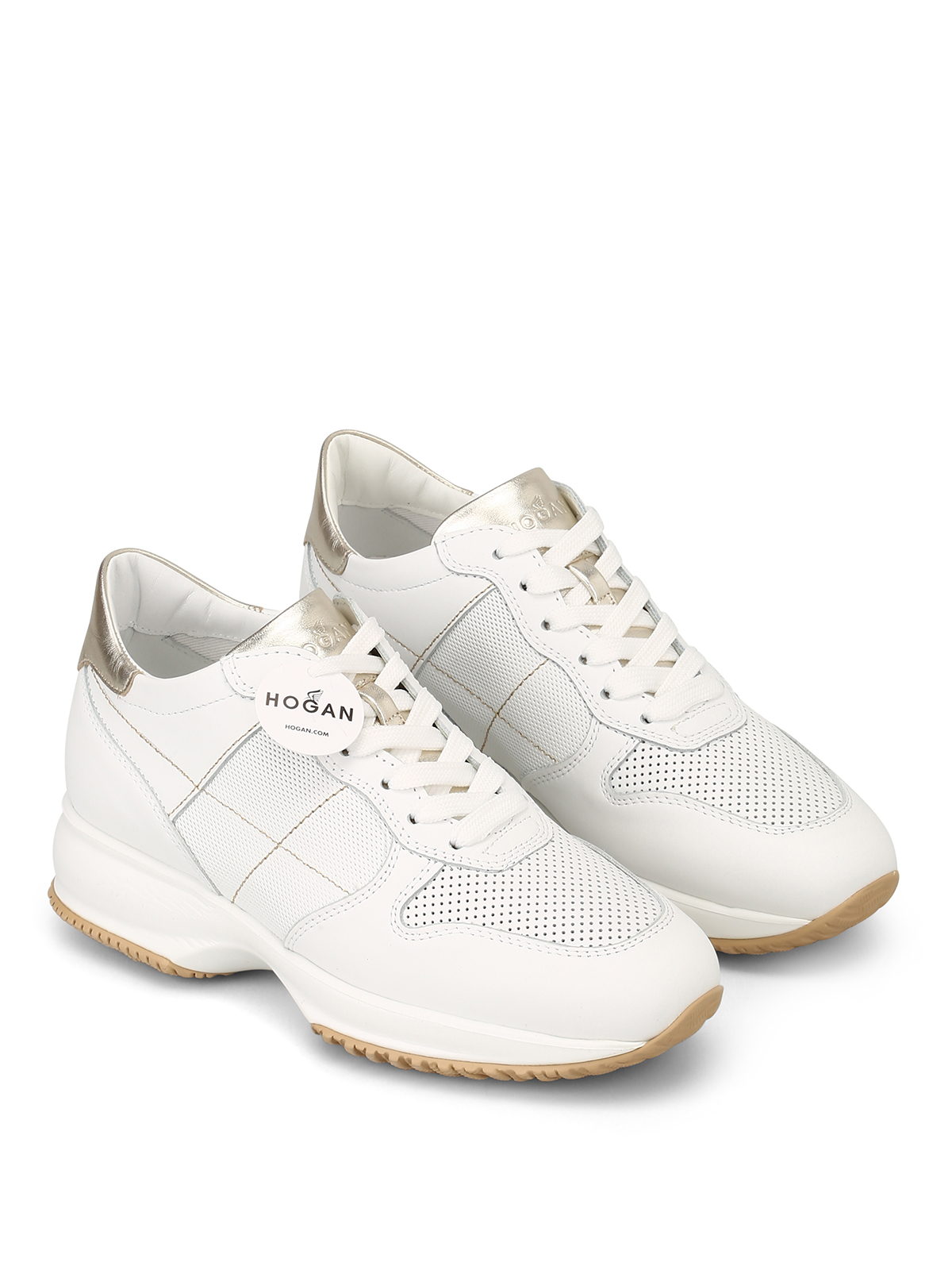 Interactive white leather sneakers