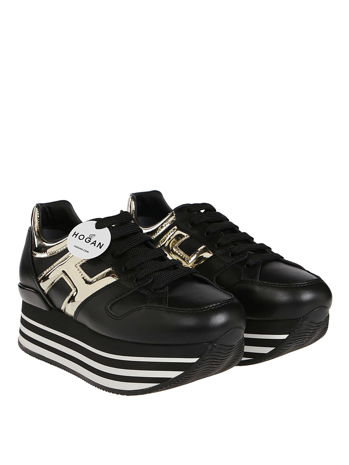 Trainers Hogan - Maxi H222 black and gold sneakers ...