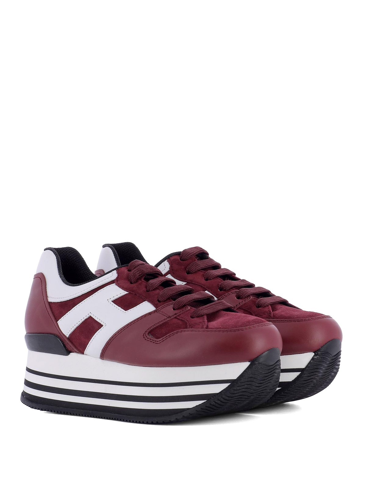 Hogan - Maxi H222 burgundy leather sneakers - trainers ...