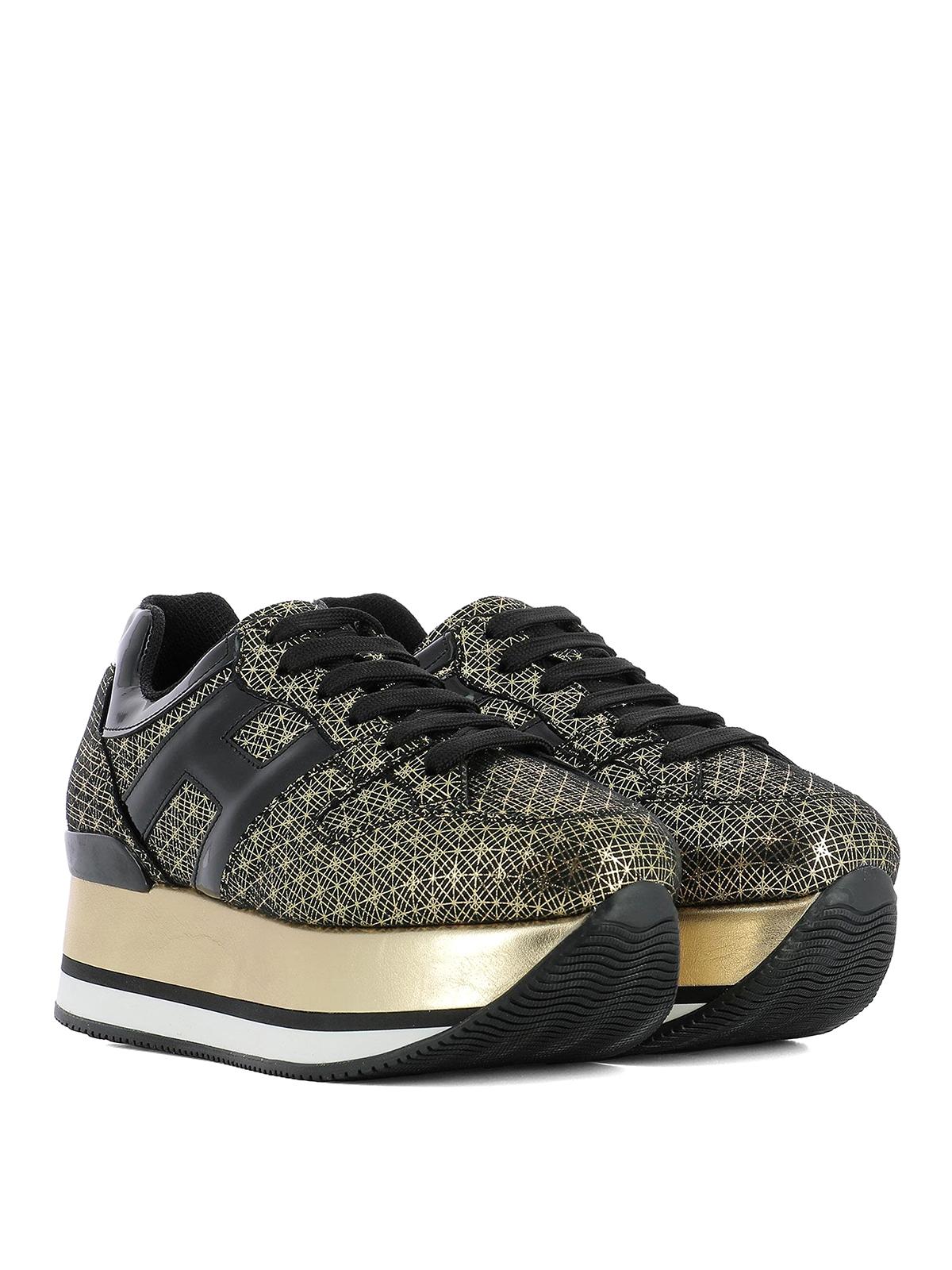 Maxi H222 gold geometric sneakers