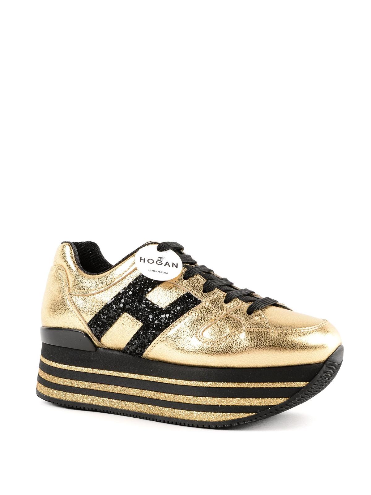 Sneakers Hogan - Sneaker Maxi H222 in pelle oro - HXW3680T548JHD417D