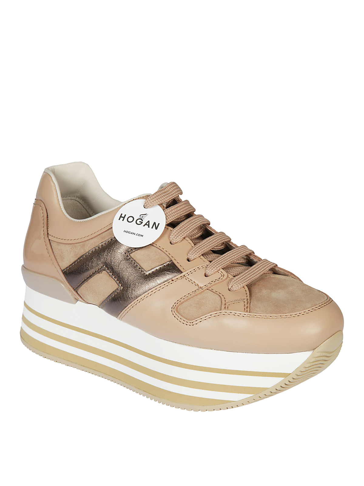 Hogan - Maxi H222 pink leather and suede sneakers - trainers ...