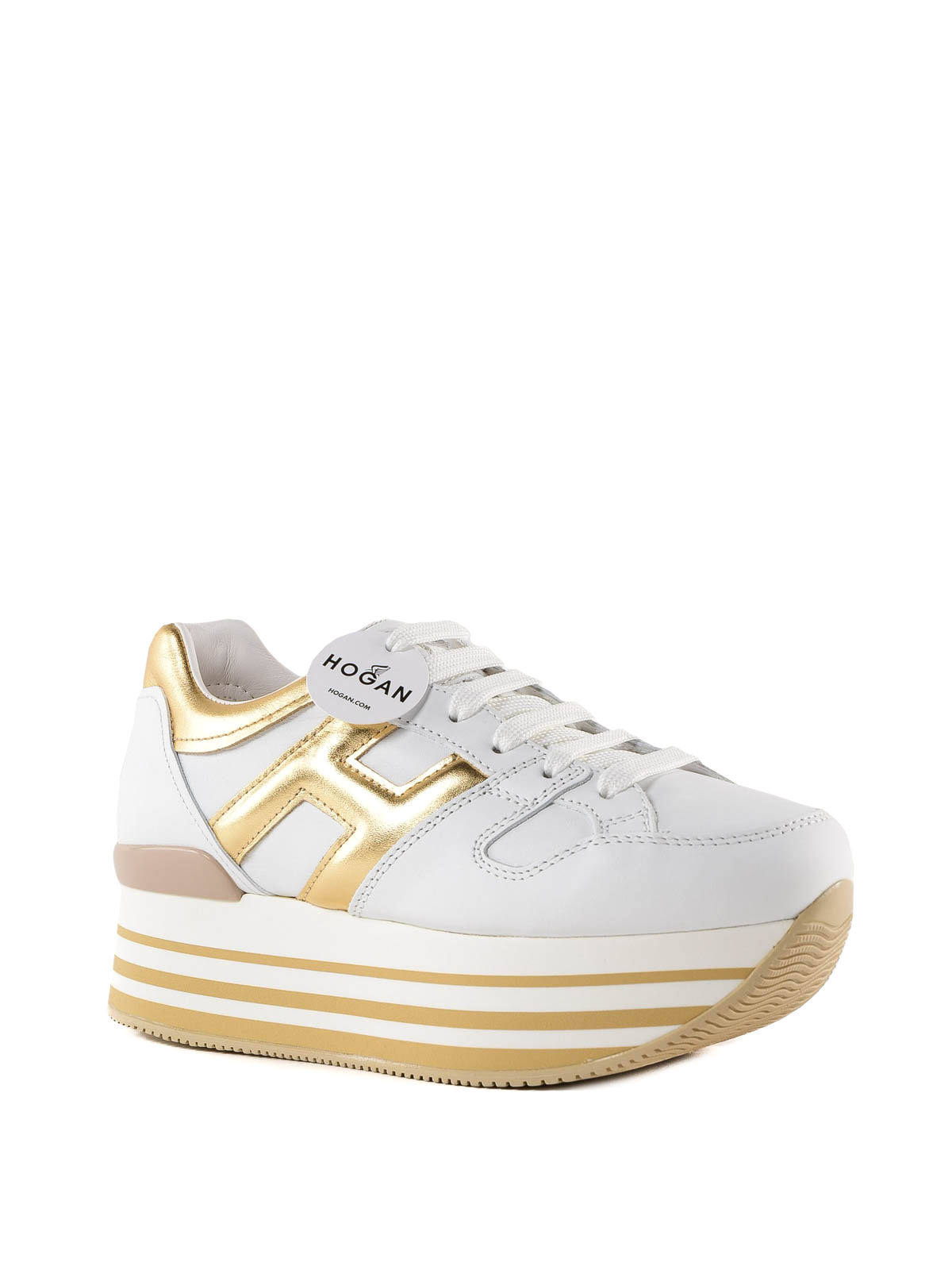 Hogan - Maxi H222 white and gold leather sneakers - trainers ...
