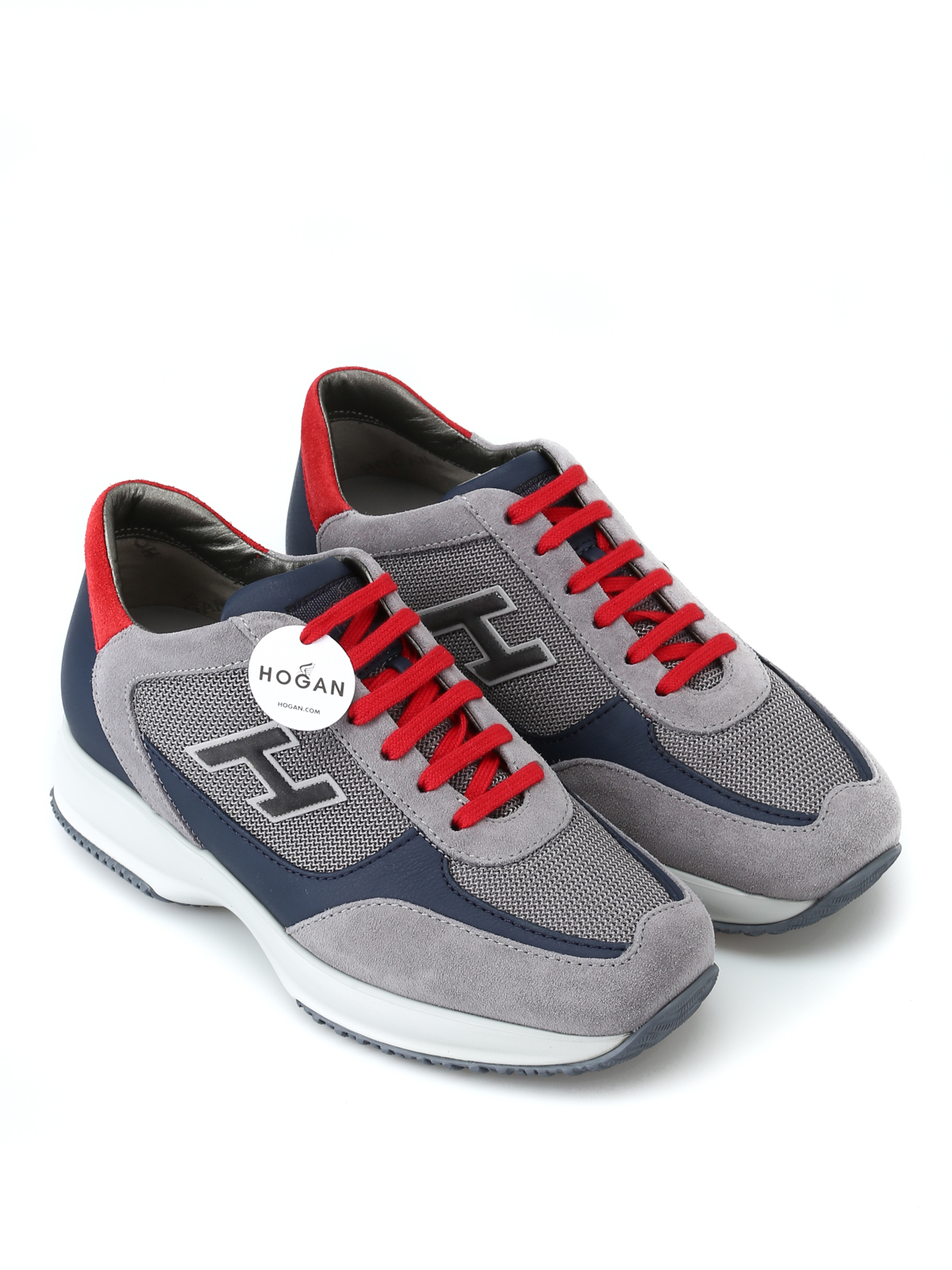 9effc34e11db HOGAN  trainers online - New Interactive H Flock grey and red sneakers