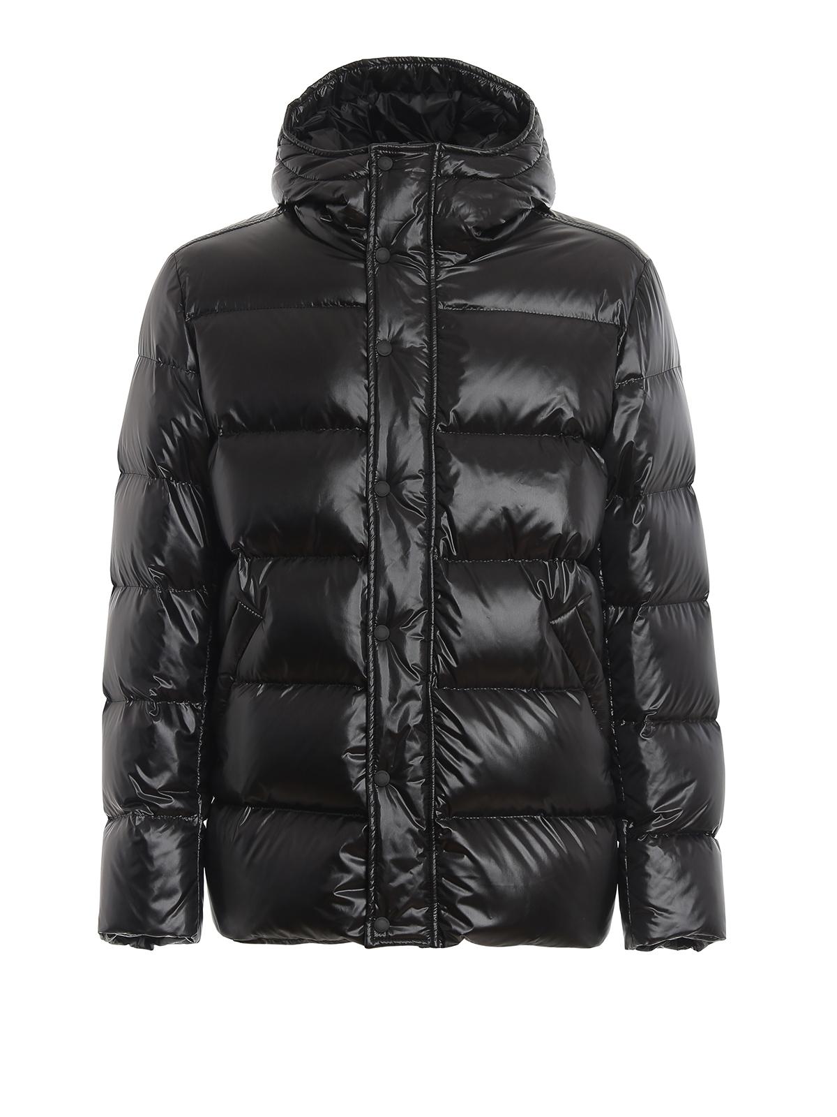 Hogan Rubber Logo Patch Black Puffer Jacket