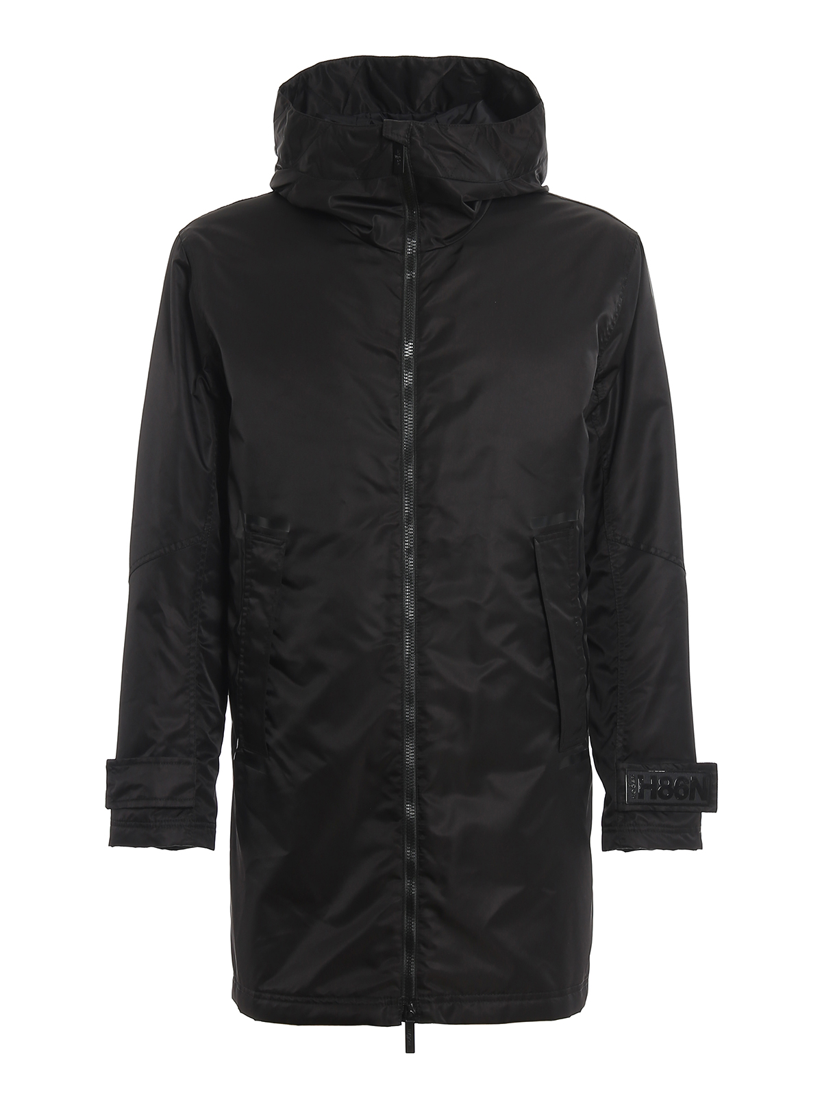 Hogan Removable Padded Vest Coated Parka In Black