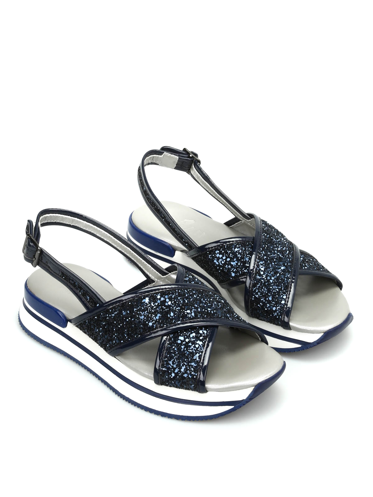 hogan glitter sandals