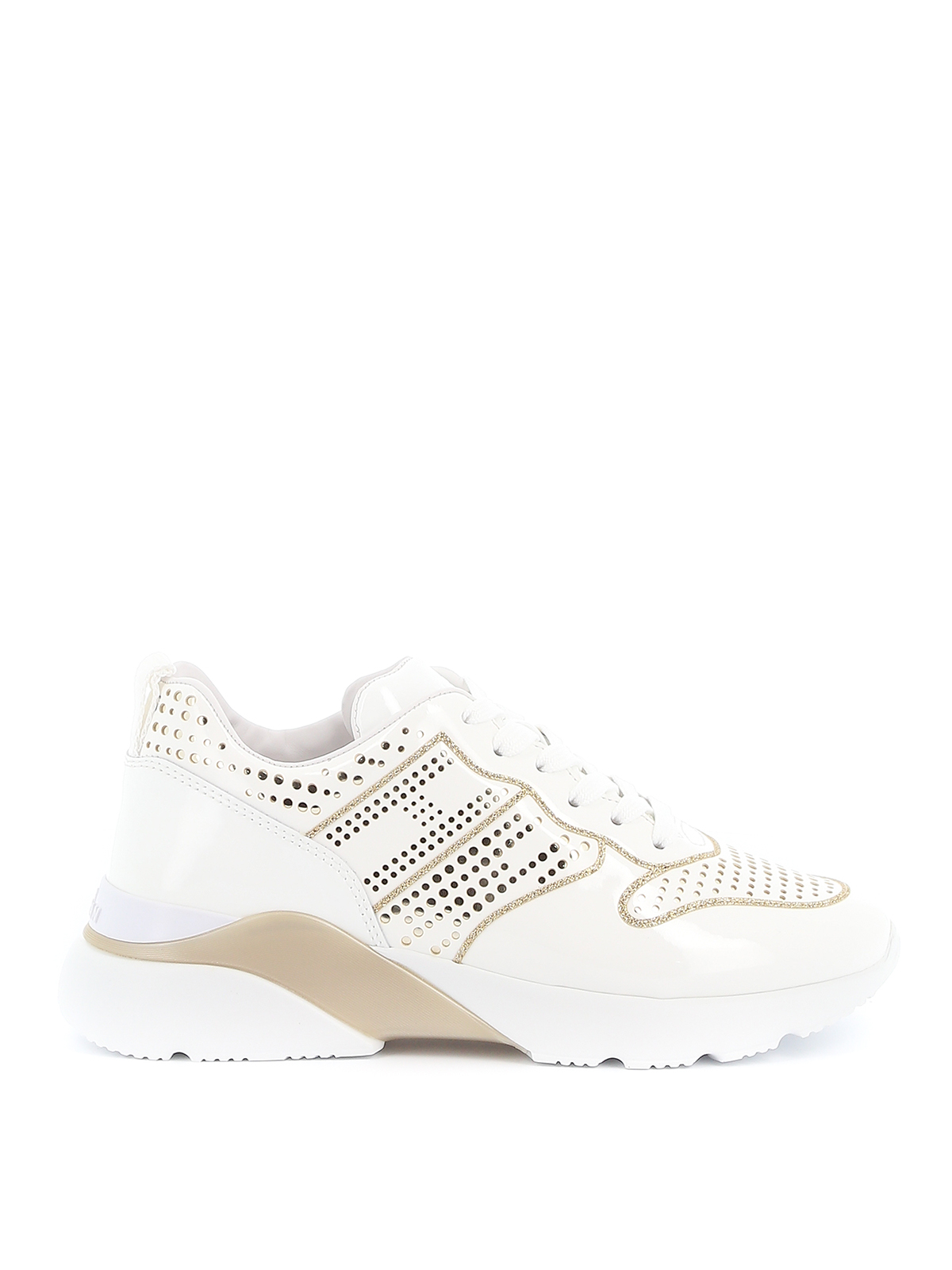 Hogan Active One Laser Cut Sneakers In White