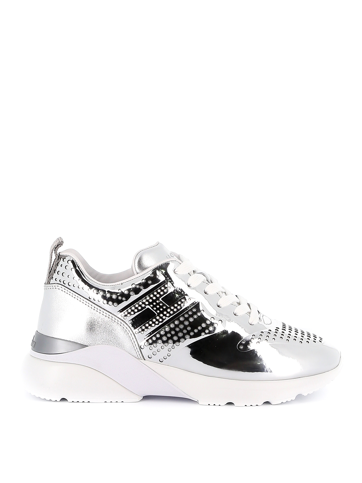 Hogan Active One Patent Leather Mirrored Sneakers In Silver