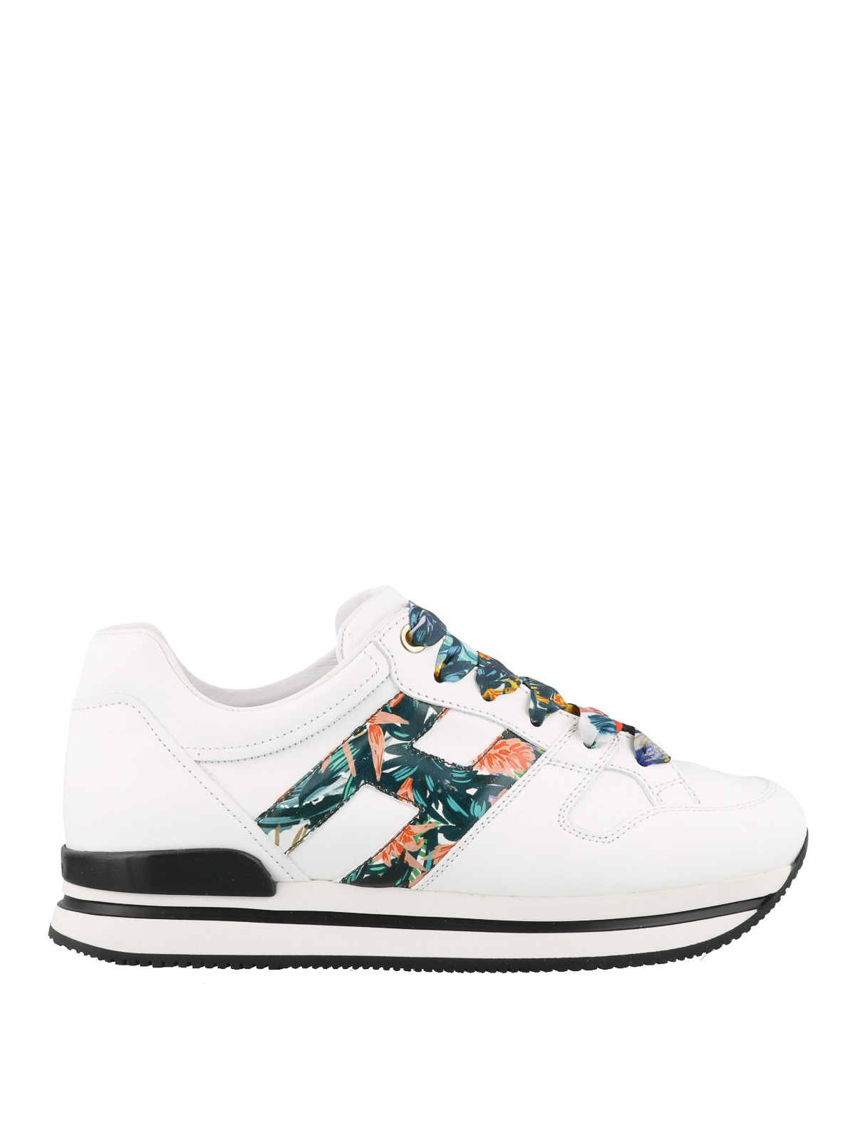 Hogan Botanical Print Low Top Sneakers In White