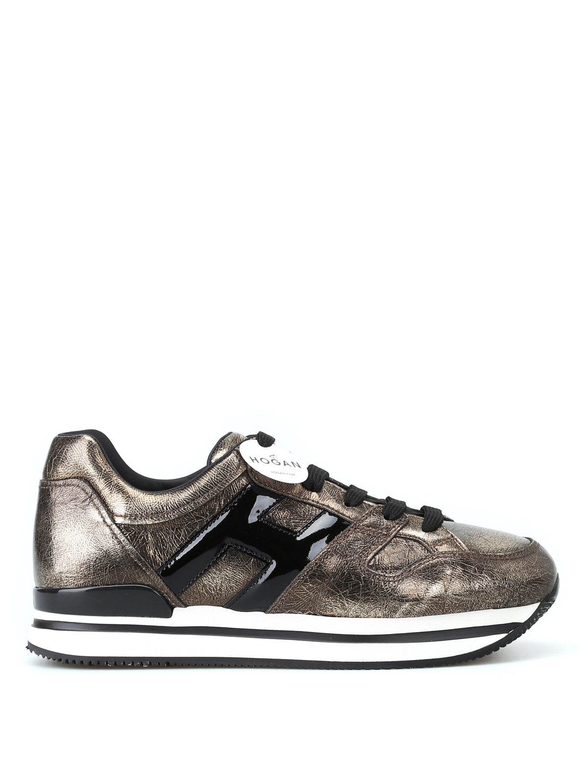 Trainers Hogan - Bronze metallic leather lace-up sneakers ...