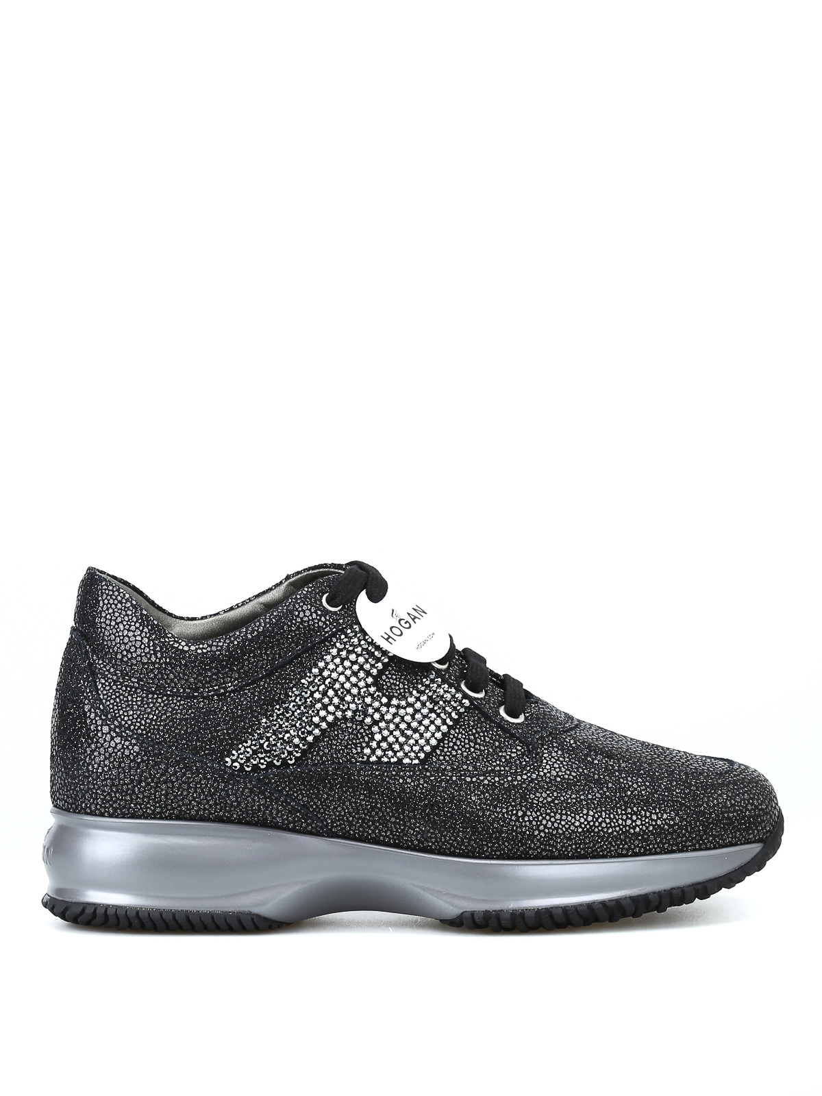 Sneakers Hogan - Interactive nere in suede con H in strass ...
