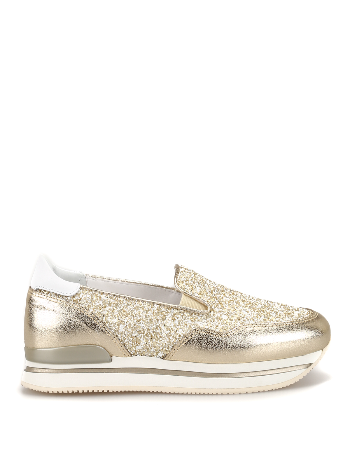 Trainers Hogan - H222 gold leather and glitter slip-ons ...