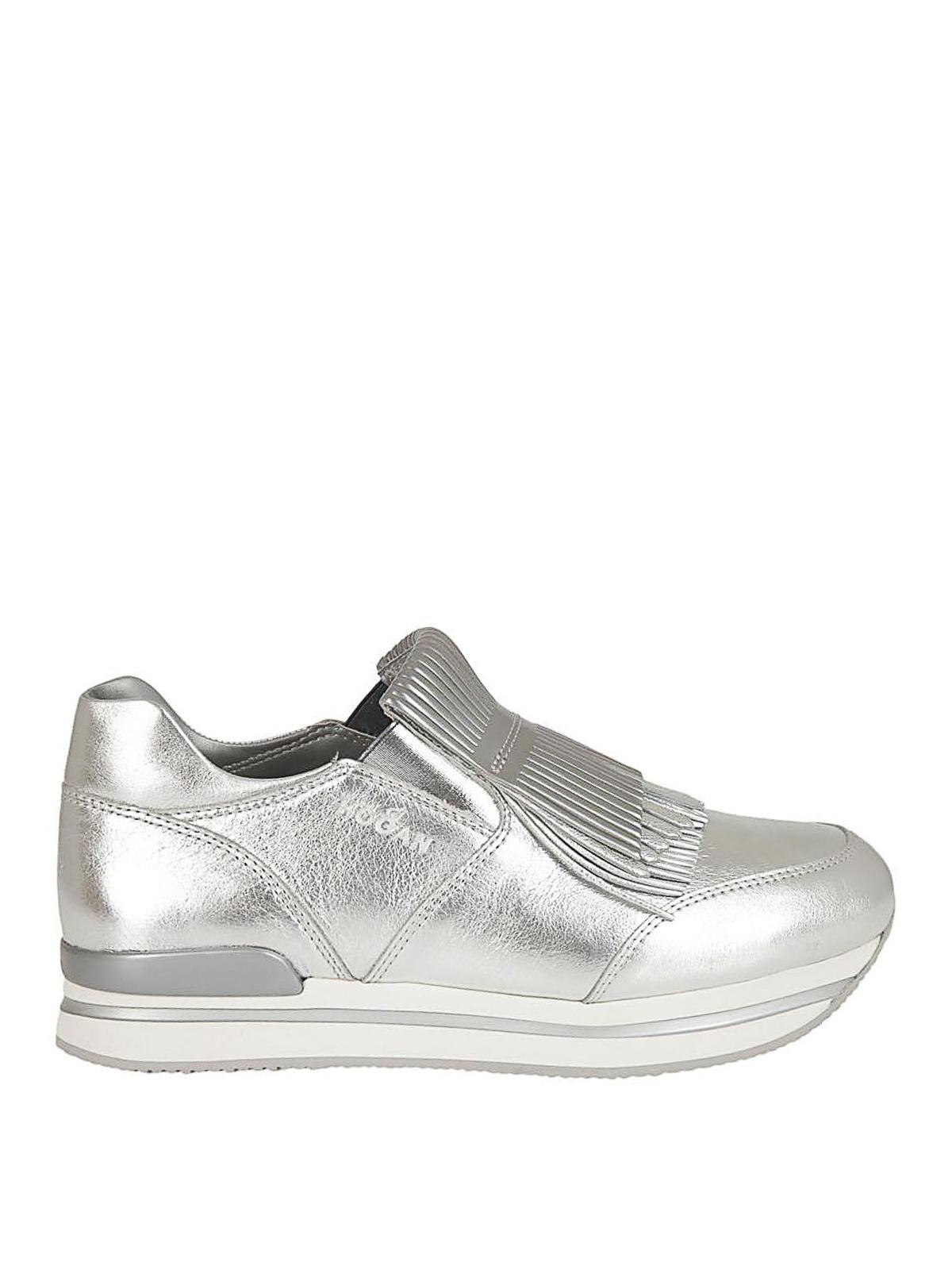 Sneakers Hogan - Slip-on H222 argento con frange - HXW2220AH80IZDB200