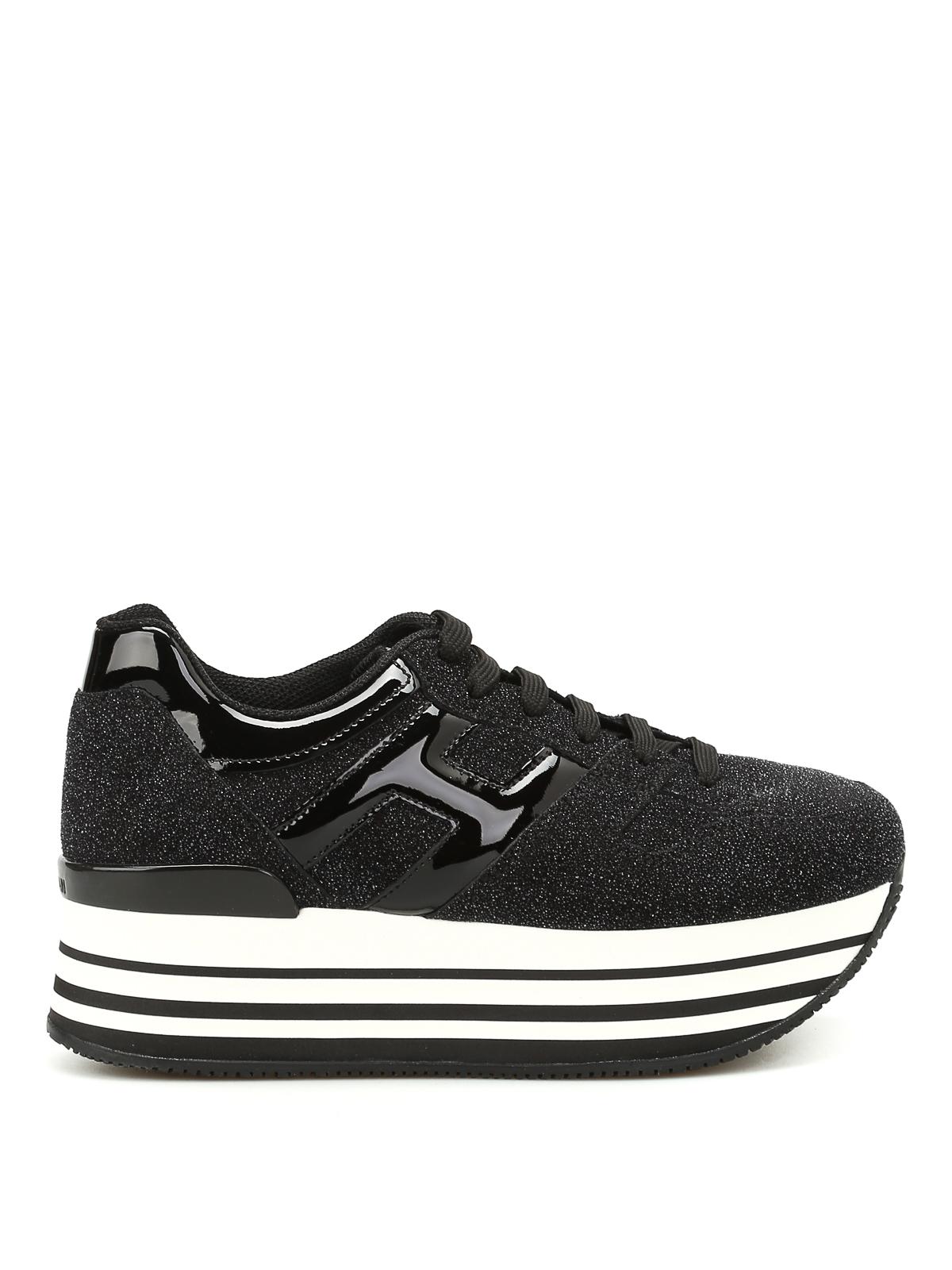 Trainers Hogan - H283 maxi glitter suede sneakers - HXW2830T548667B999