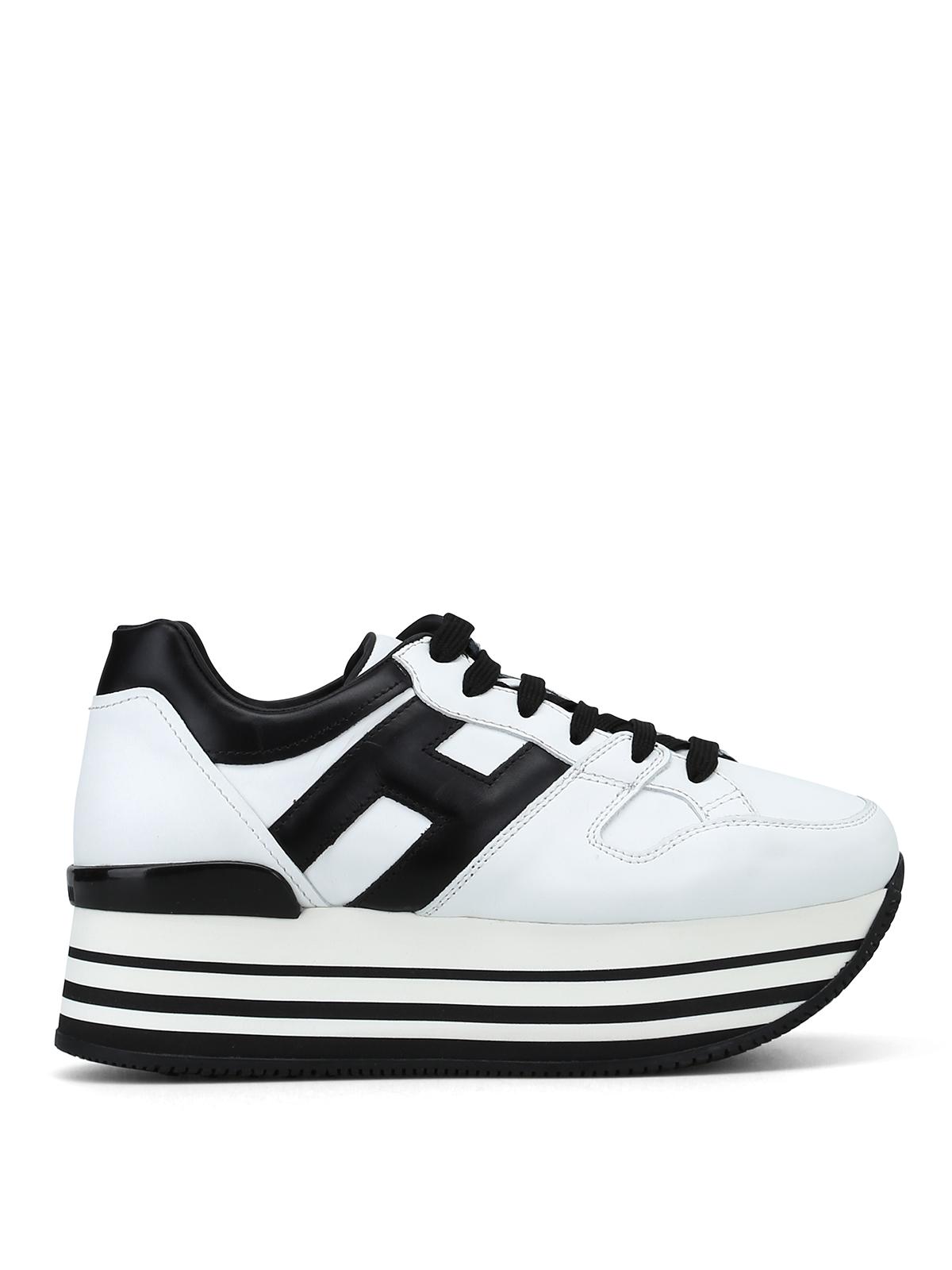 Sneakers Hogan - Sneaker bianche e nere H283 in pelle ...