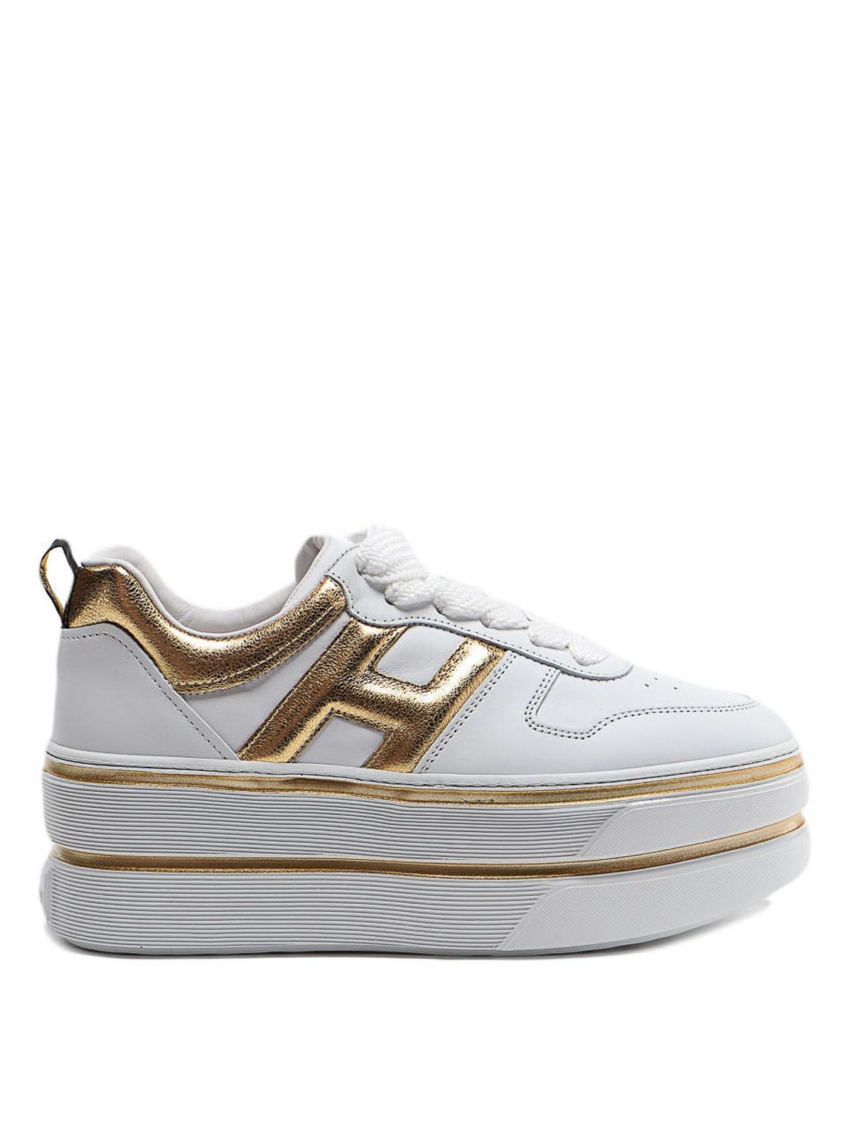 Sneakers Hogan - Sneaker H449 maxi bianca e oro - HXW4490BS01ISR0746