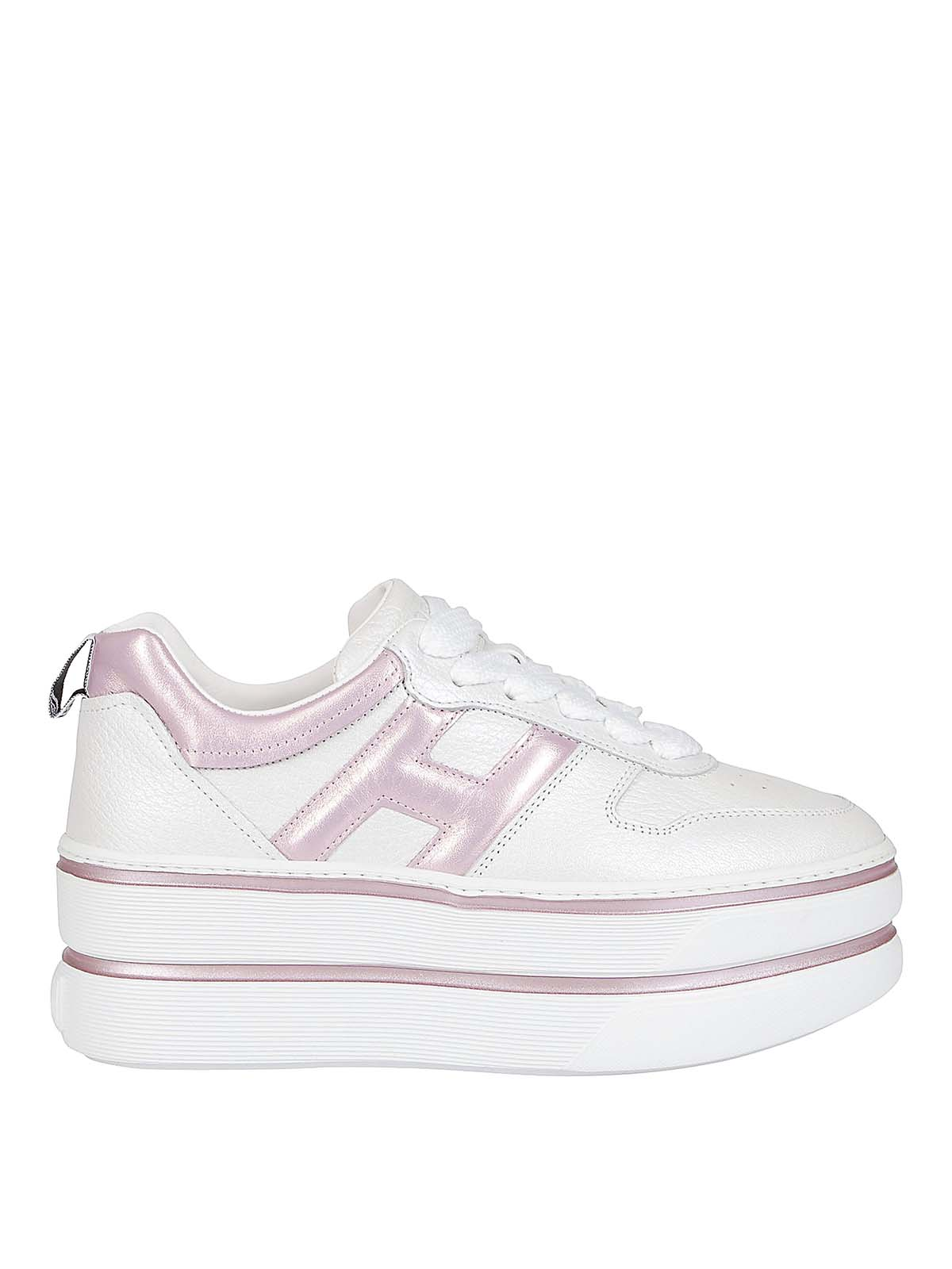 Hogan H449 White And Pink Sneakers