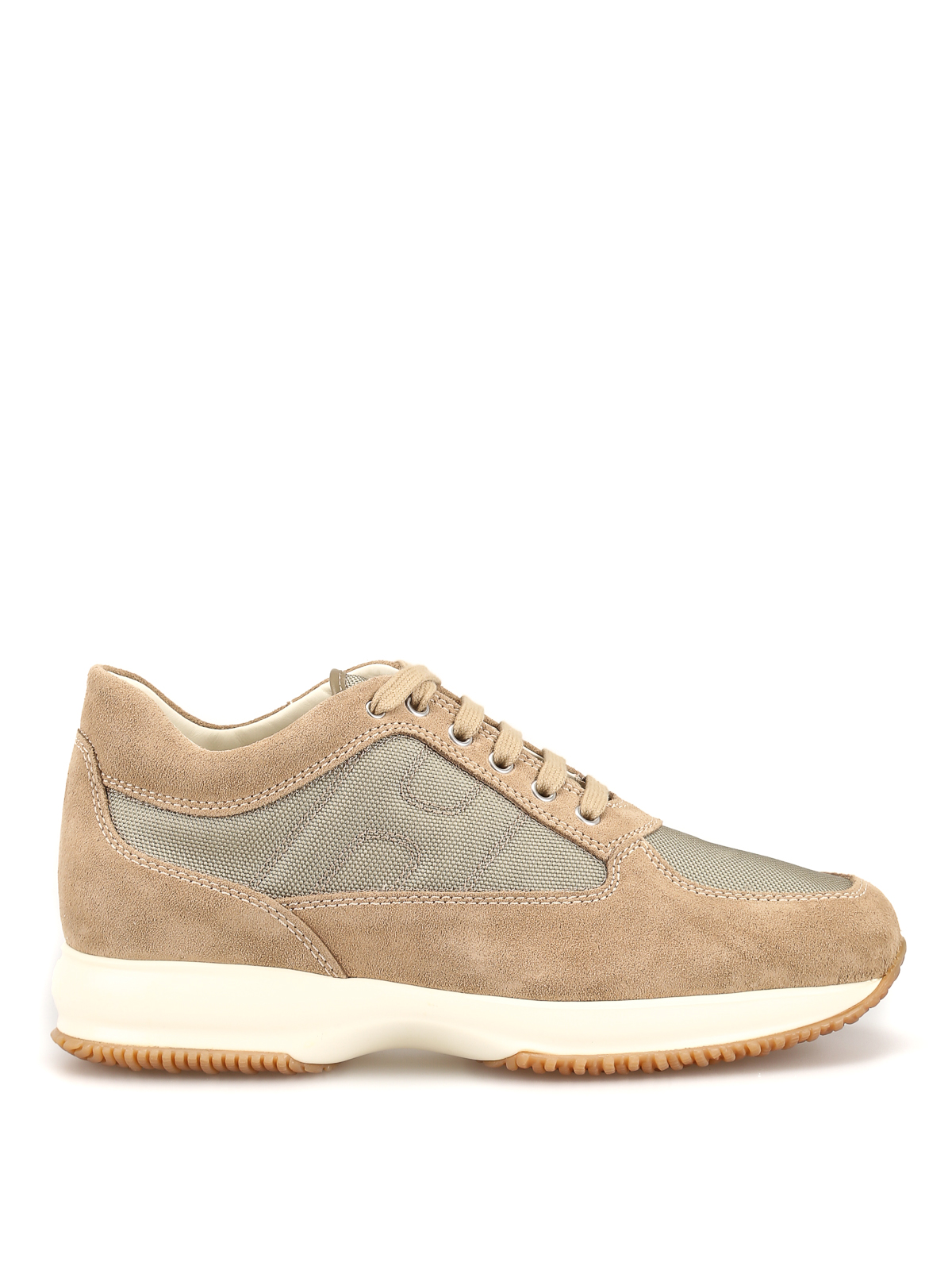 Hogan - Interactive beige suede and fabric sneakers - trainers ...