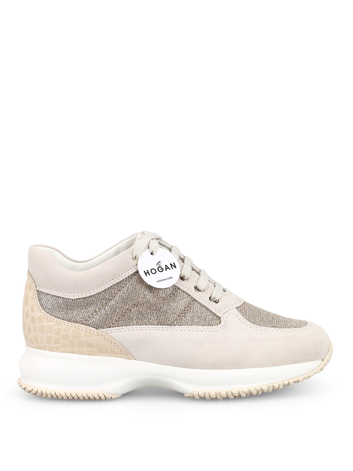 4b5cec5034 Hogan - Interactive beige suede and lurex sneakers - trainers ...