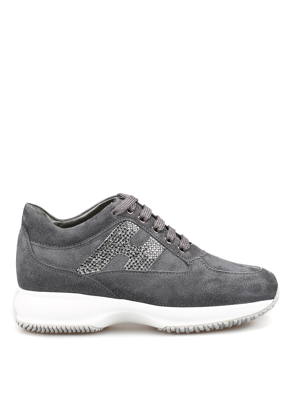 Sneakers Hogan - Interactive in shiny suede con H strass ...