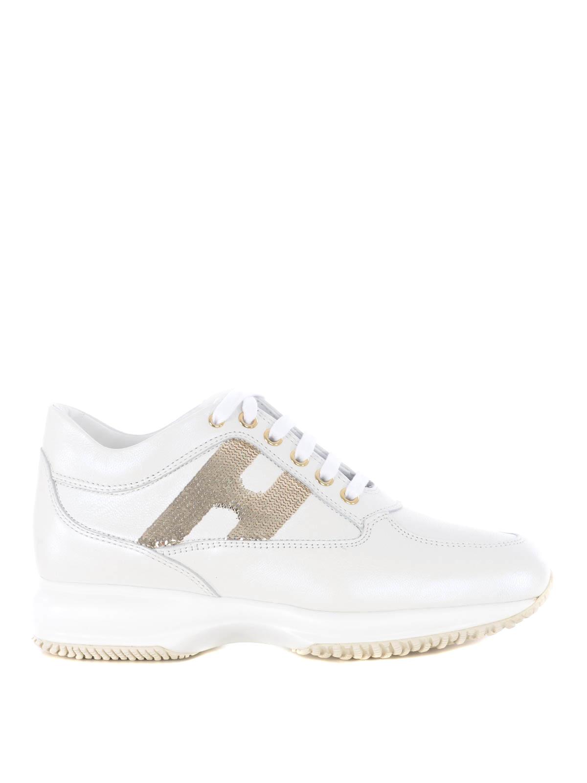 Sneakers Hogan - Interactive in pelle con paillettes dorate ...