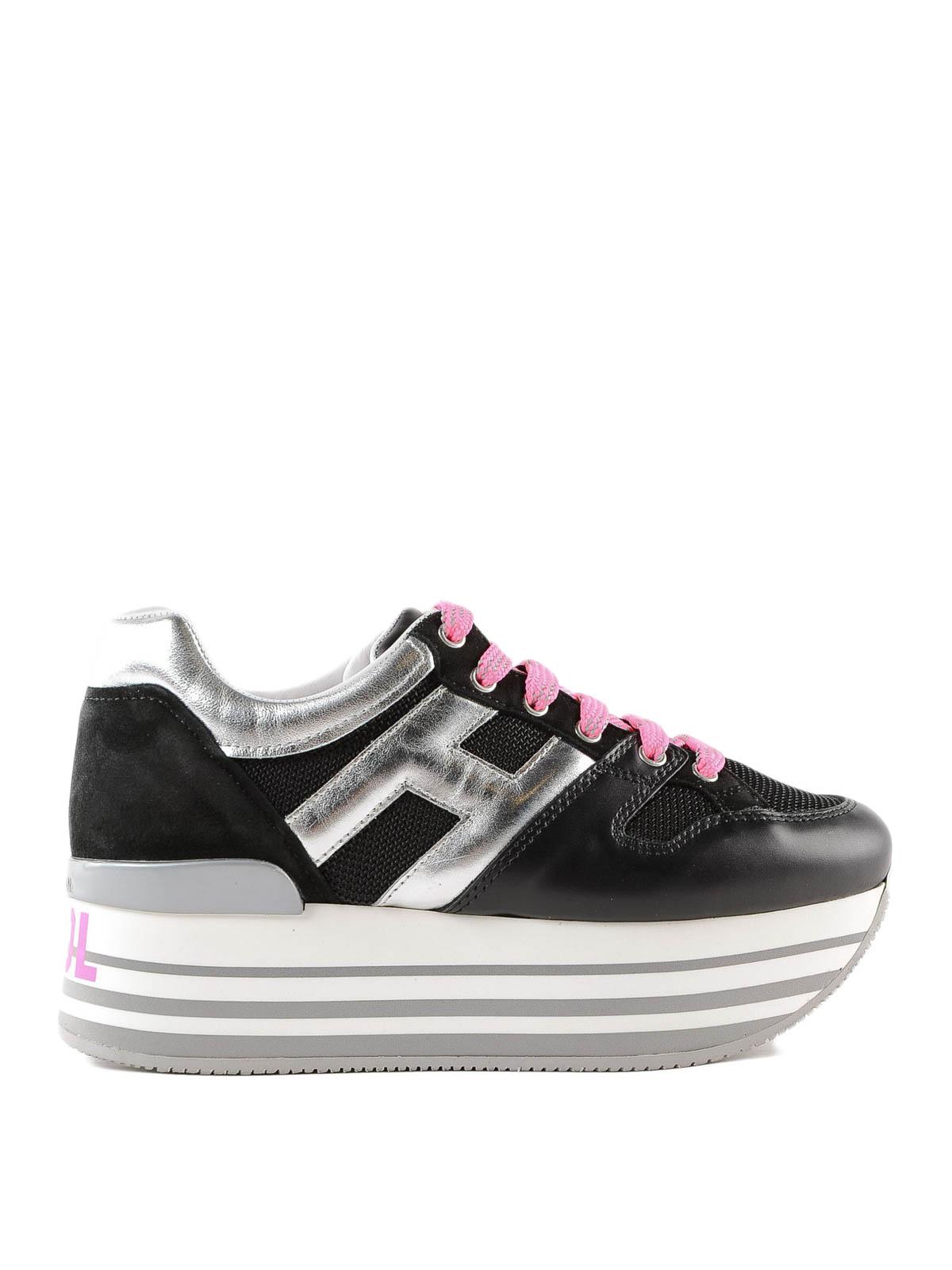 Trainers Hogan - Maxi H222 black striped platform sneakers ...