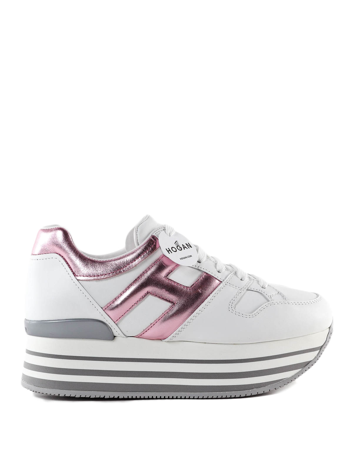 Hogan - Maxi H222 white and pink leather sneakers - trainers ...